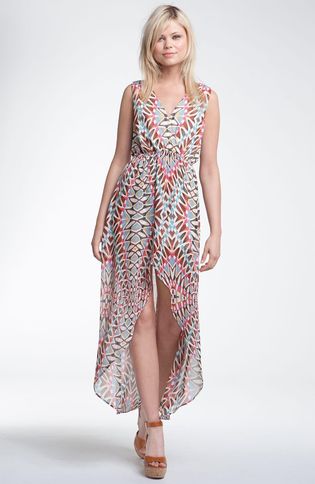 Print Surplice Maxi Dress,                             Main thumbnail 1, color,                             250