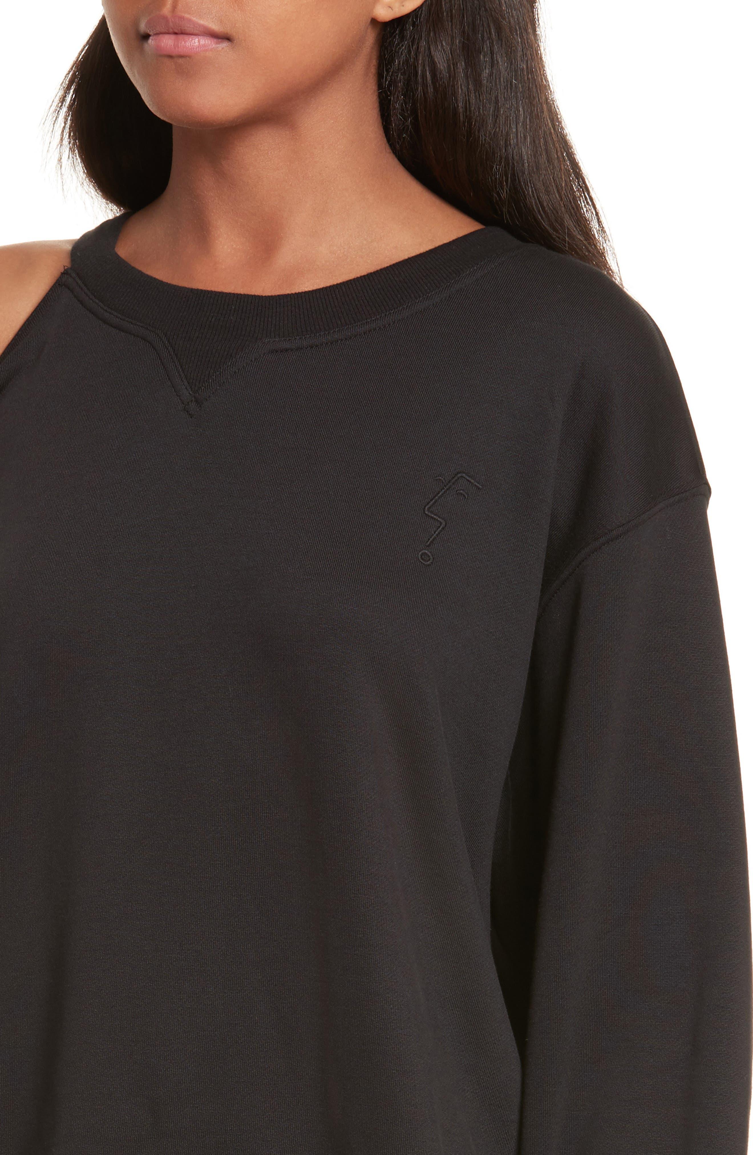 Asymmetrical Cold Shoulder Sweatshirt,                             Alternate thumbnail 4, color,                             001
