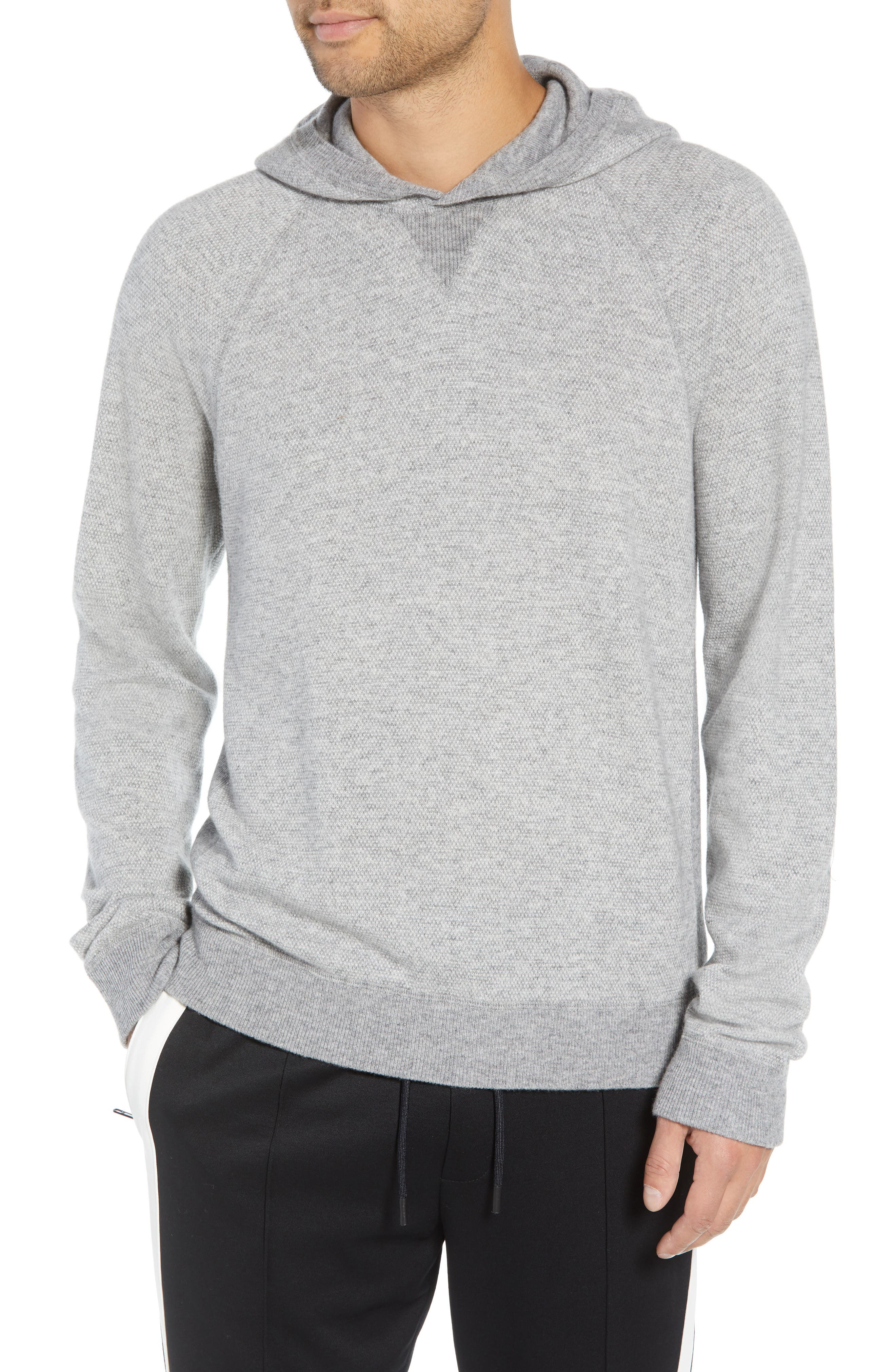 Regular Fit Bird's Eye Hoodie,                             Main thumbnail 1, color,                             H GREY/ PEARL