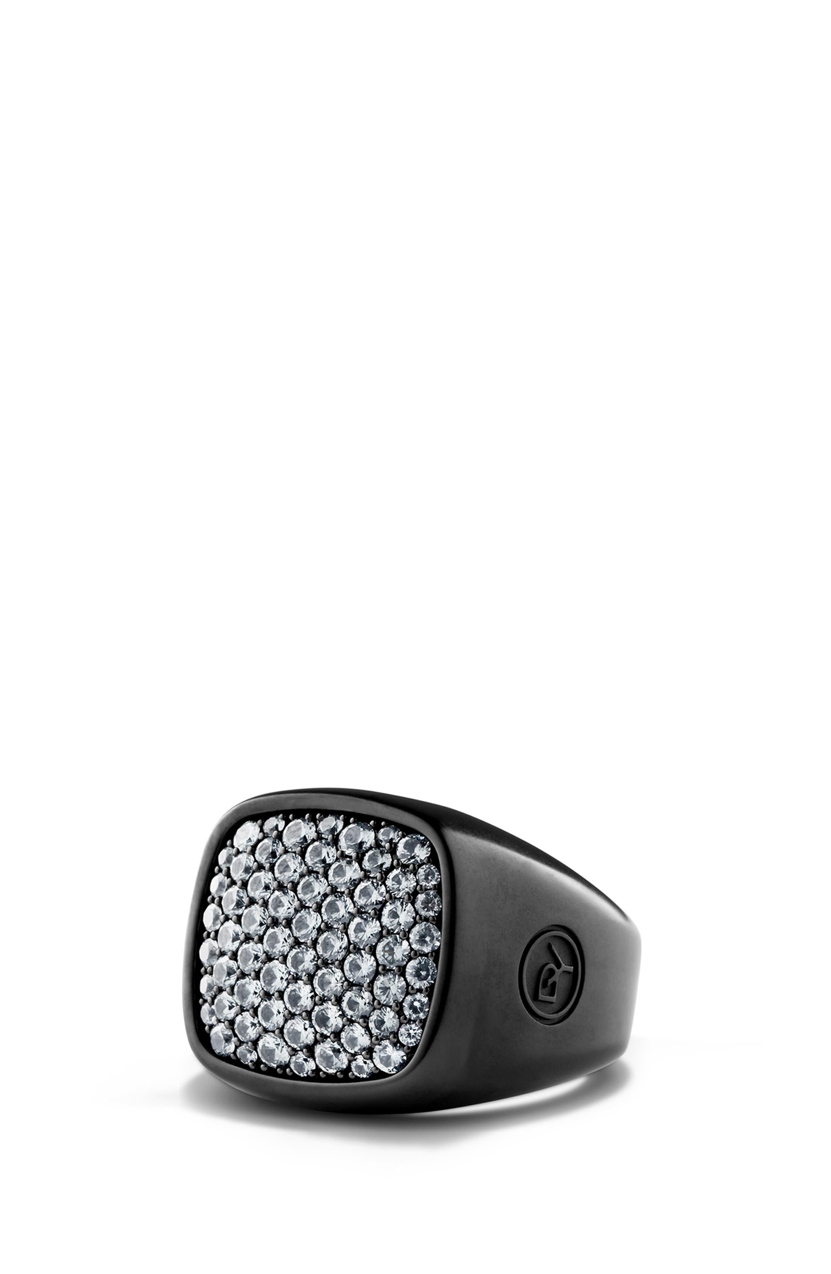 'Pavé' Ring with Precious Stones,                         Main,                         color, GREY SAPPHIRE