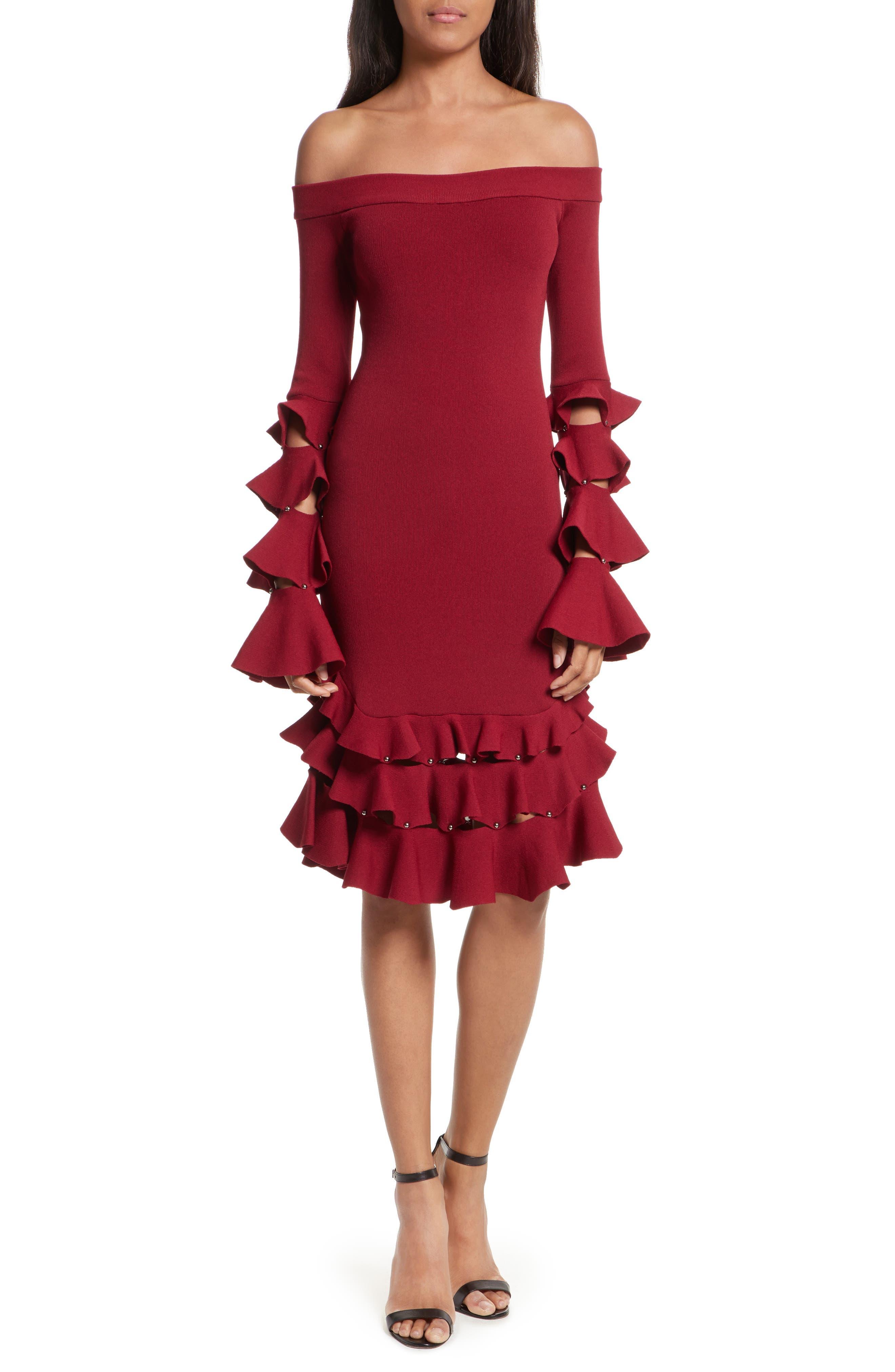 Slashed Knit Ruffle Off the Shoulder Dress,                             Main thumbnail 1, color,                             604