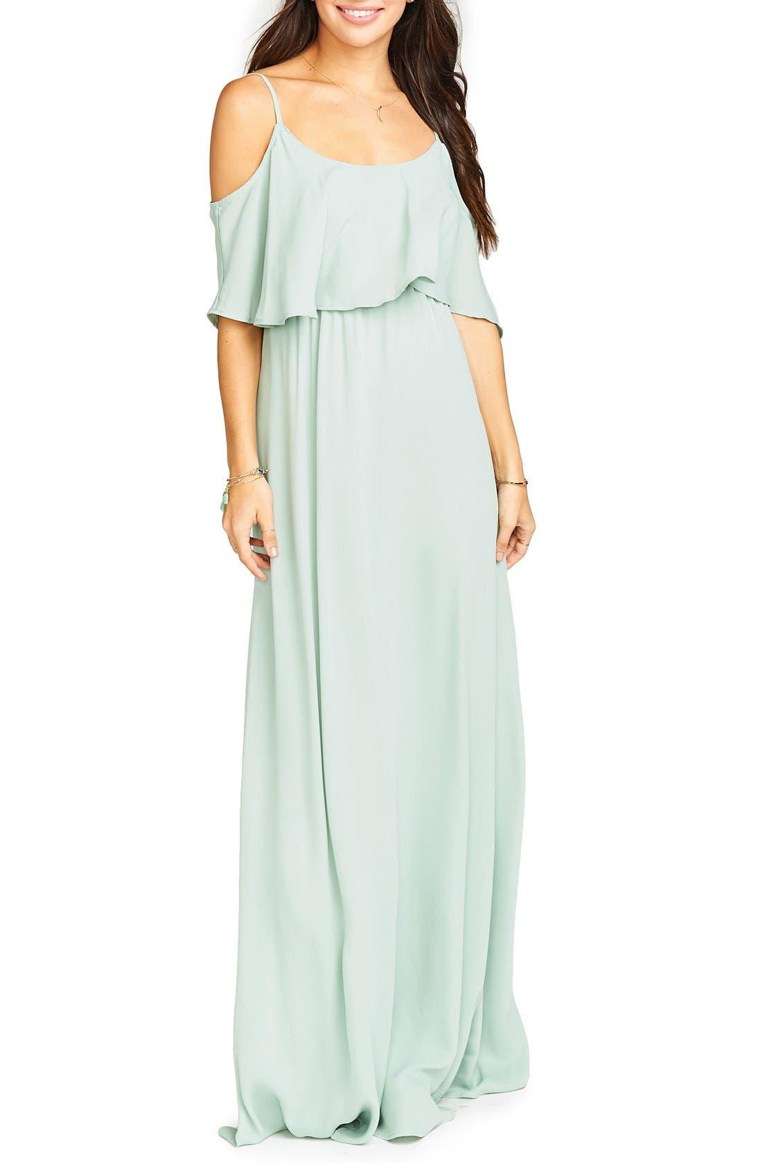 Caitlin Cold Shoulder Chiffon Gown,                             Main thumbnail 13, color,