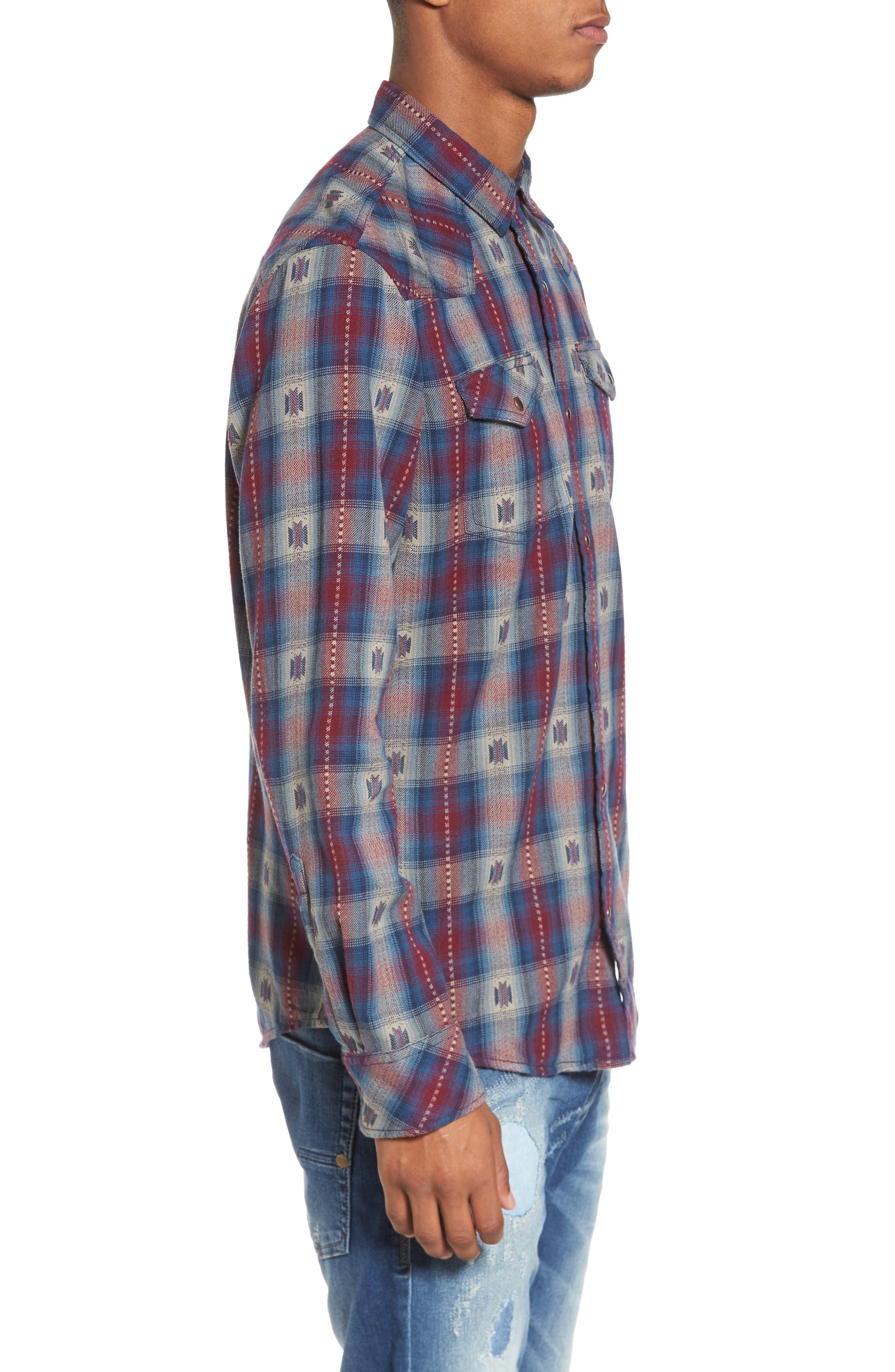Feliz Dobby Plaid Western Shirt,                             Alternate thumbnail 6, color,