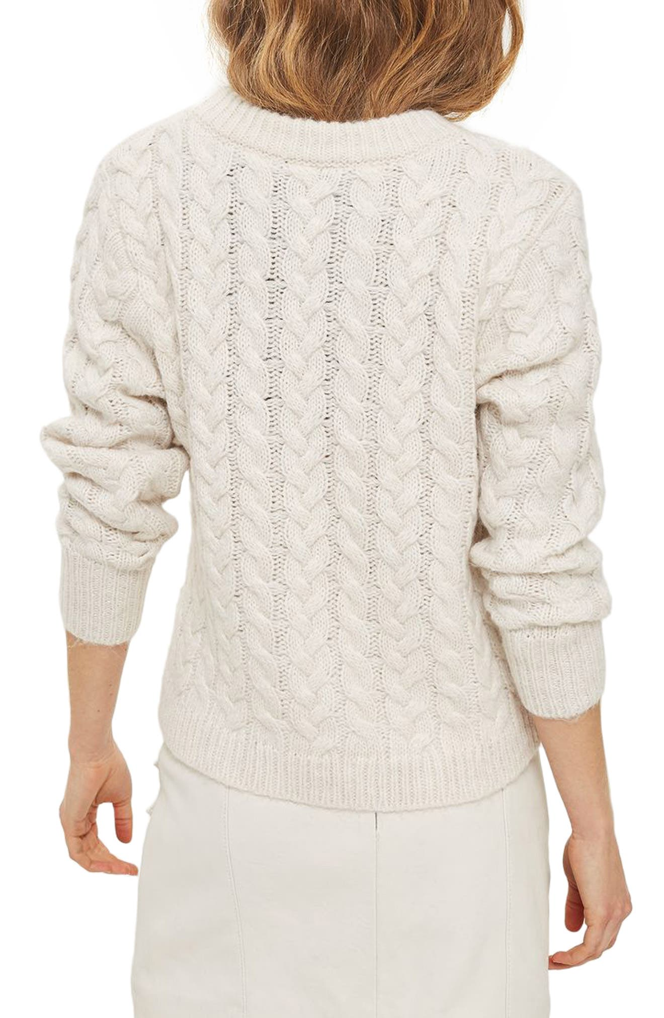 Asymmetrical Cable Knit Sweater,                             Alternate thumbnail 2, color,                             251