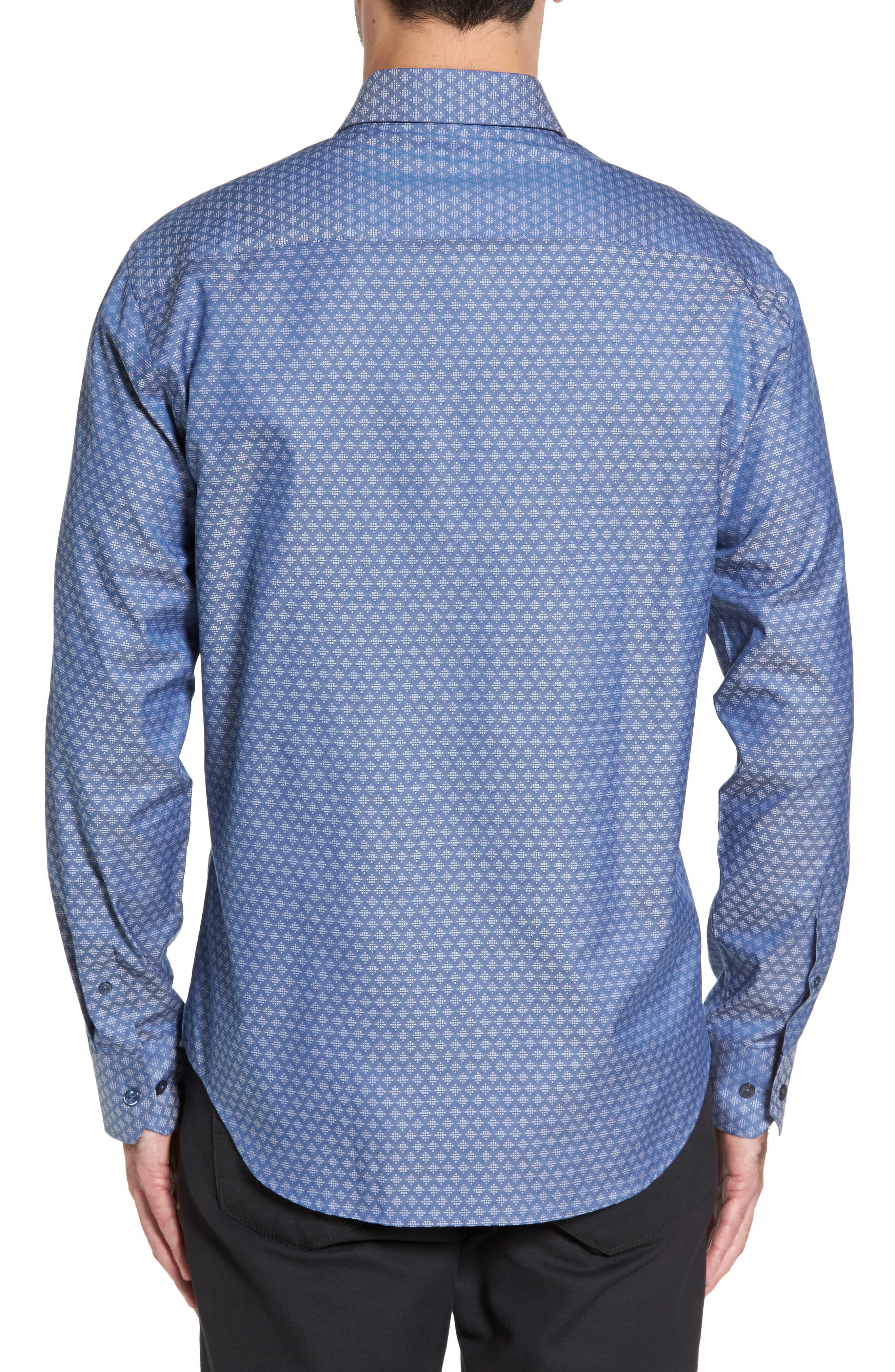 Shaped Fit Dobby Diamond Sport Shirt,                             Alternate thumbnail 2, color,                             030