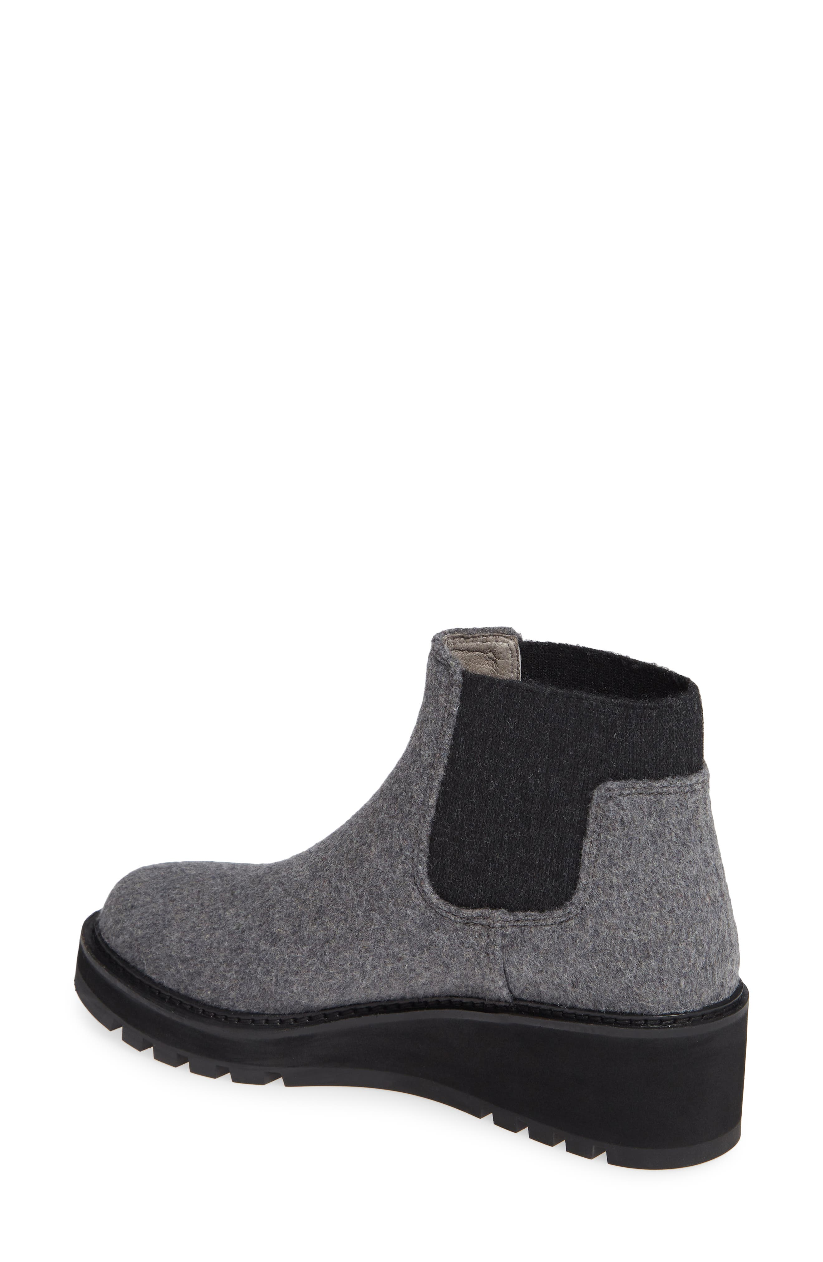 Wedge Chelsea Bootie,                             Alternate thumbnail 2, color,                             CHARCOAL FABRIC