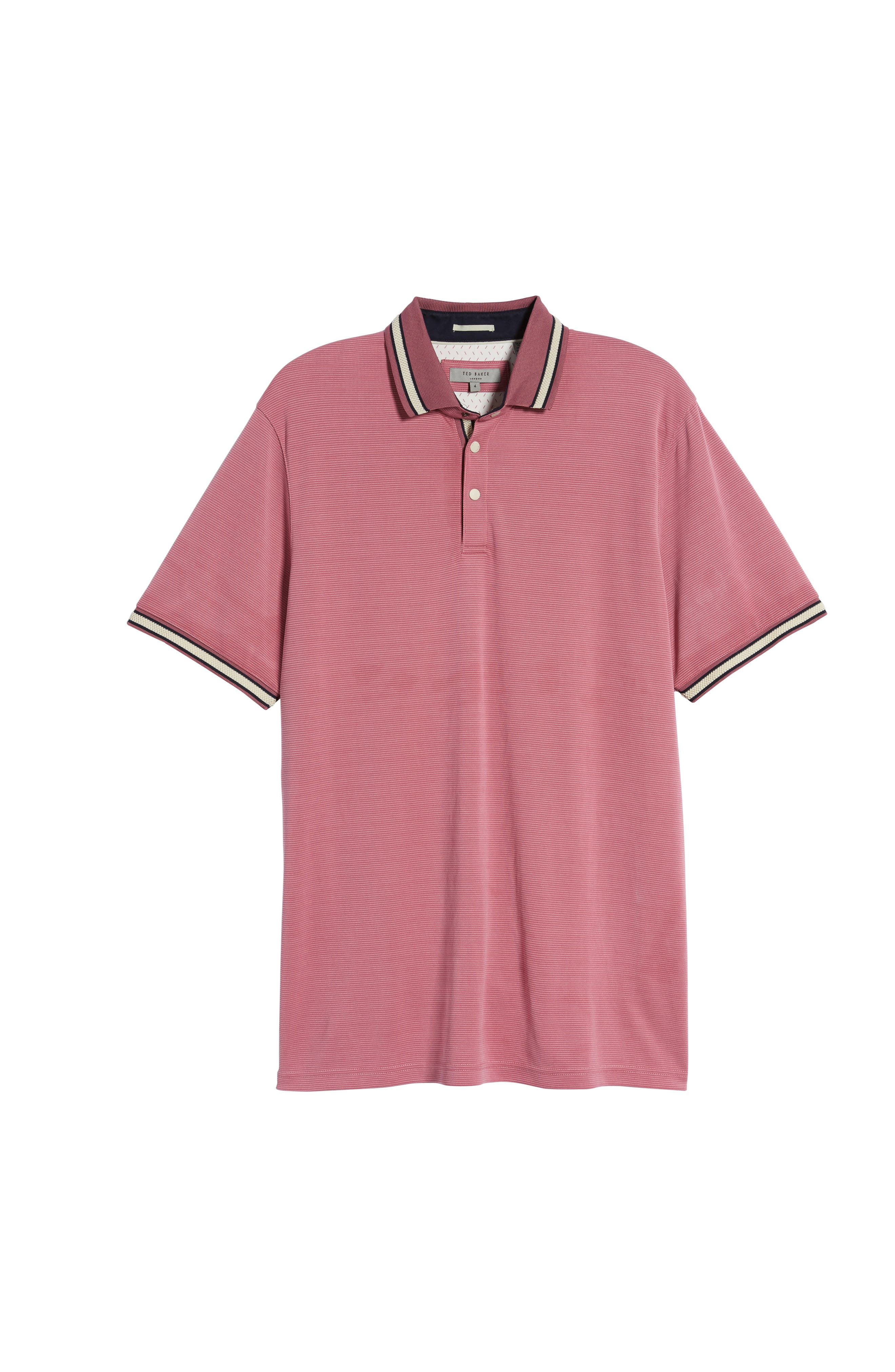 Chumm Trim Fit Birdseye Polo,                             Alternate thumbnail 6, color,                             PINK
