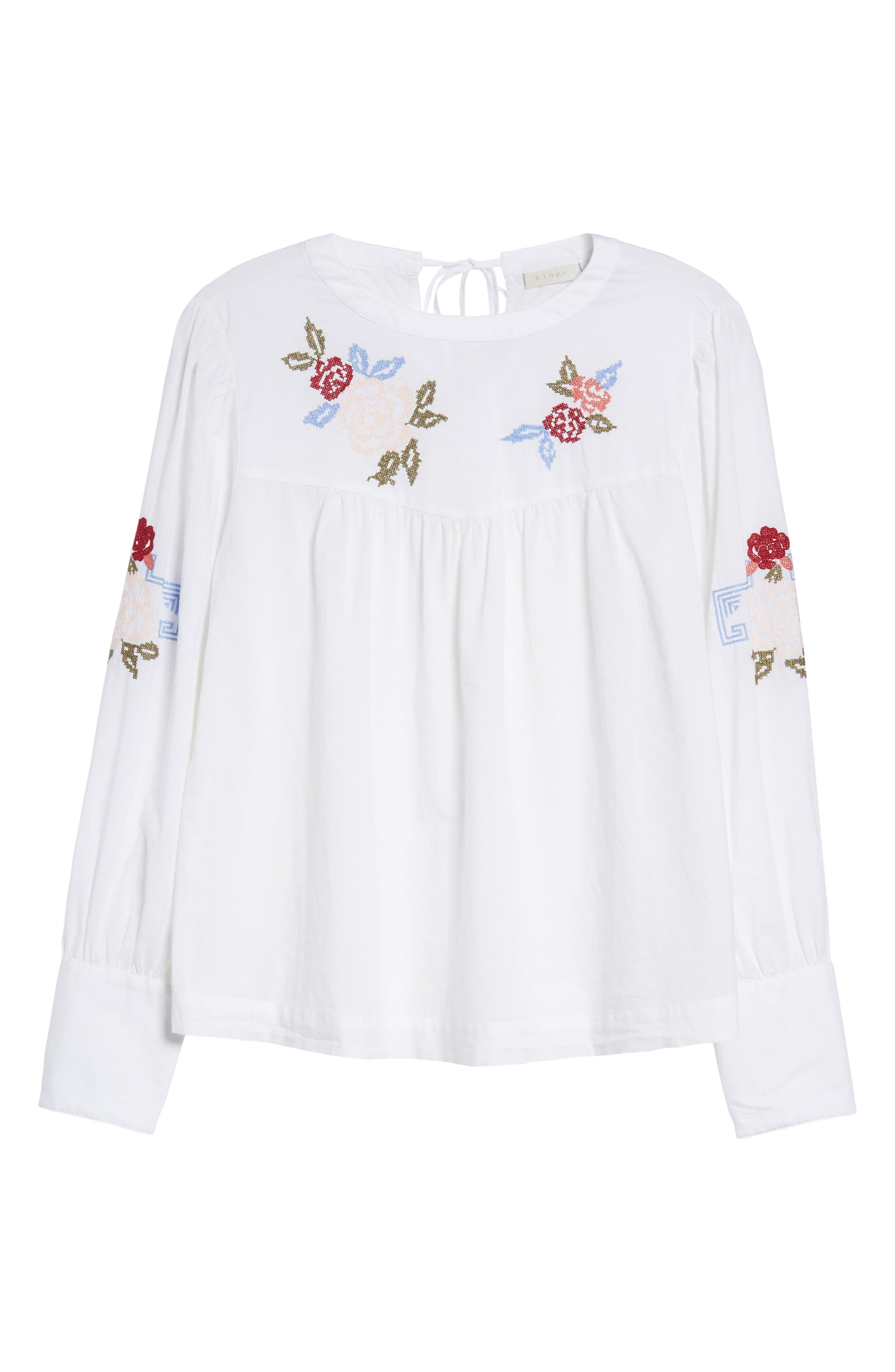 Embroidered Top,                             Alternate thumbnail 6, color,                             100