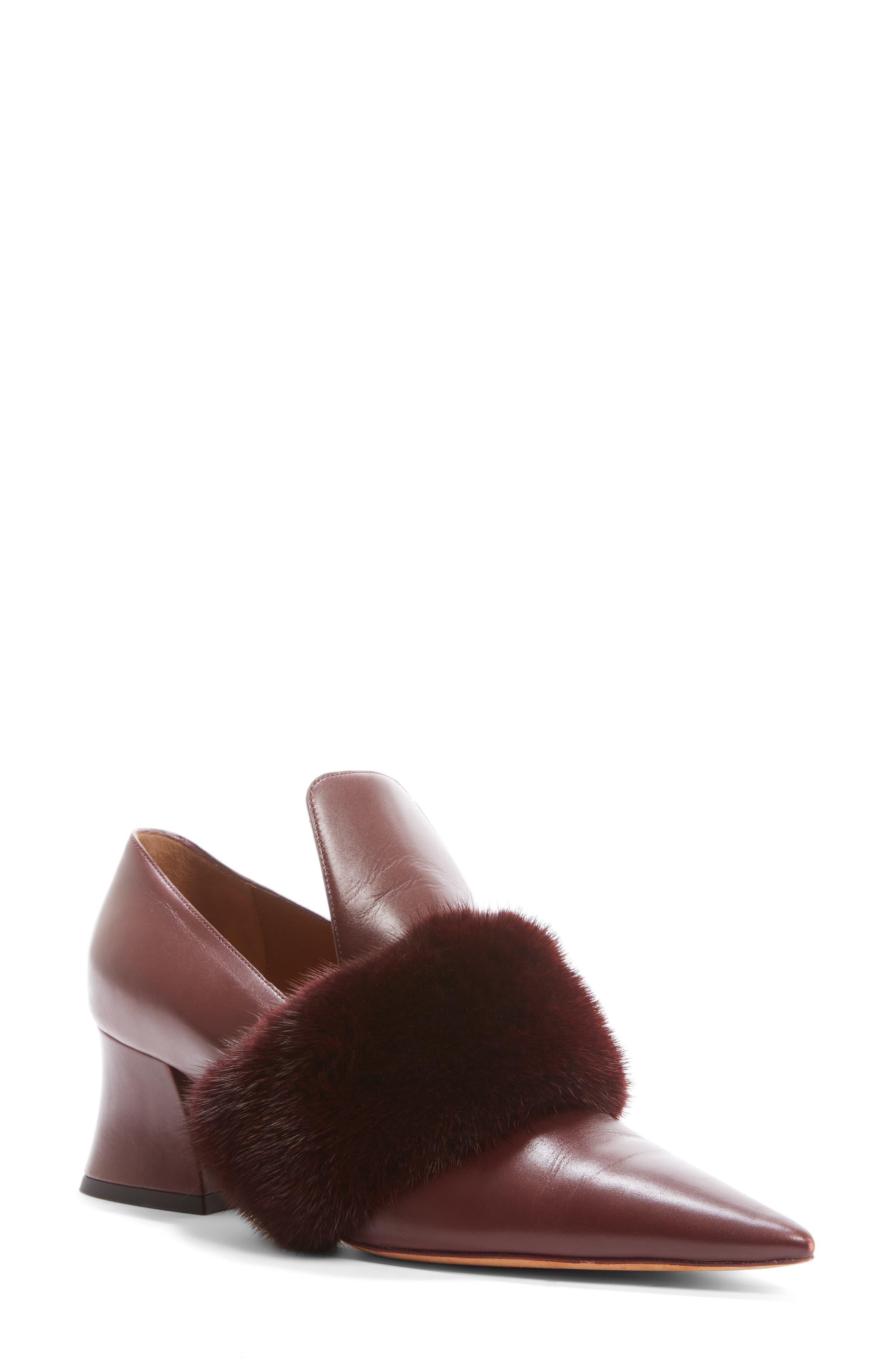 Patricia Pump with Genuine Mink Fur Trim,                             Main thumbnail 1, color,                             930