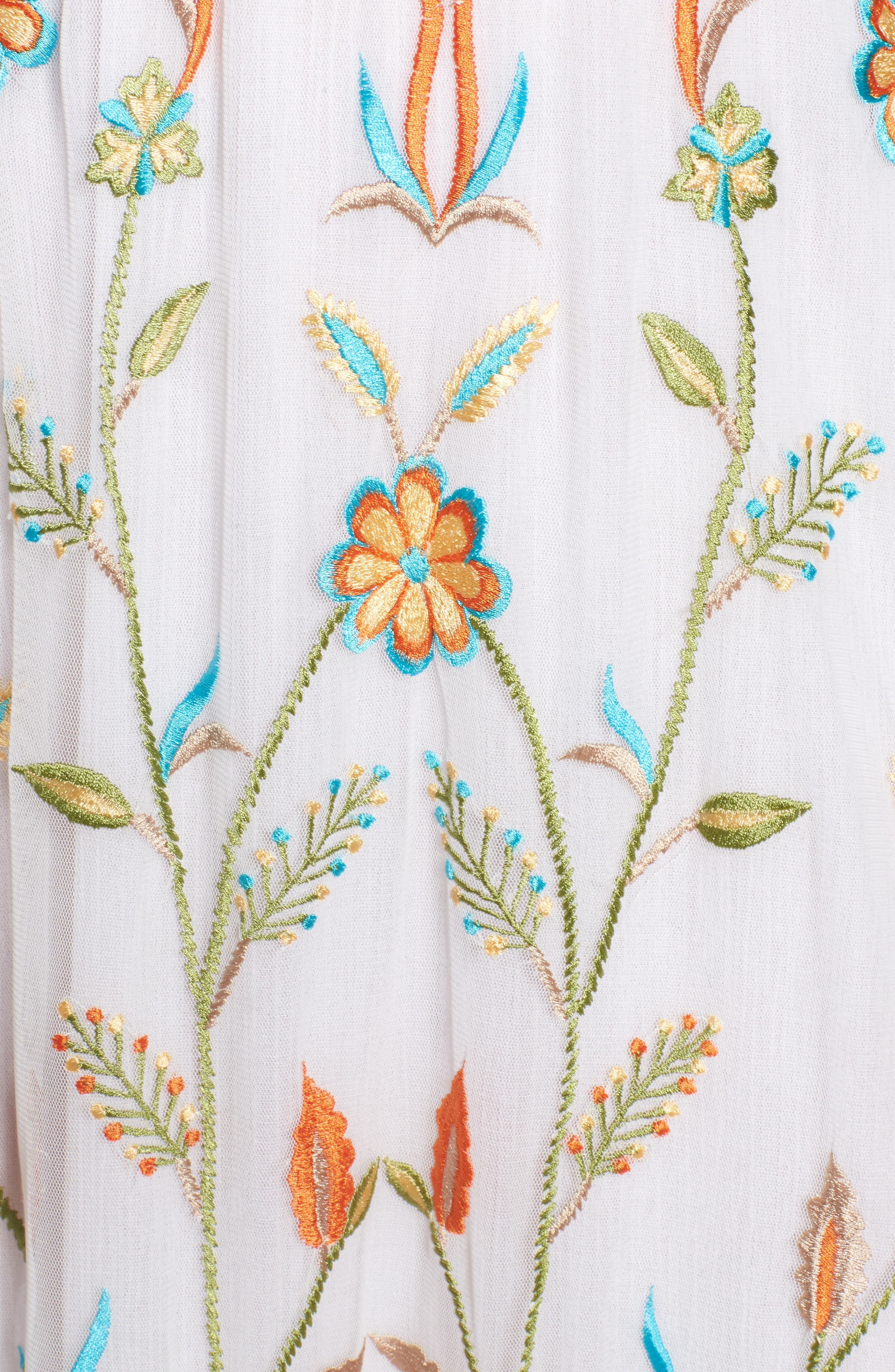 Eve Embroidered Maxi Dress,                             Alternate thumbnail 5, color,                             WHITE