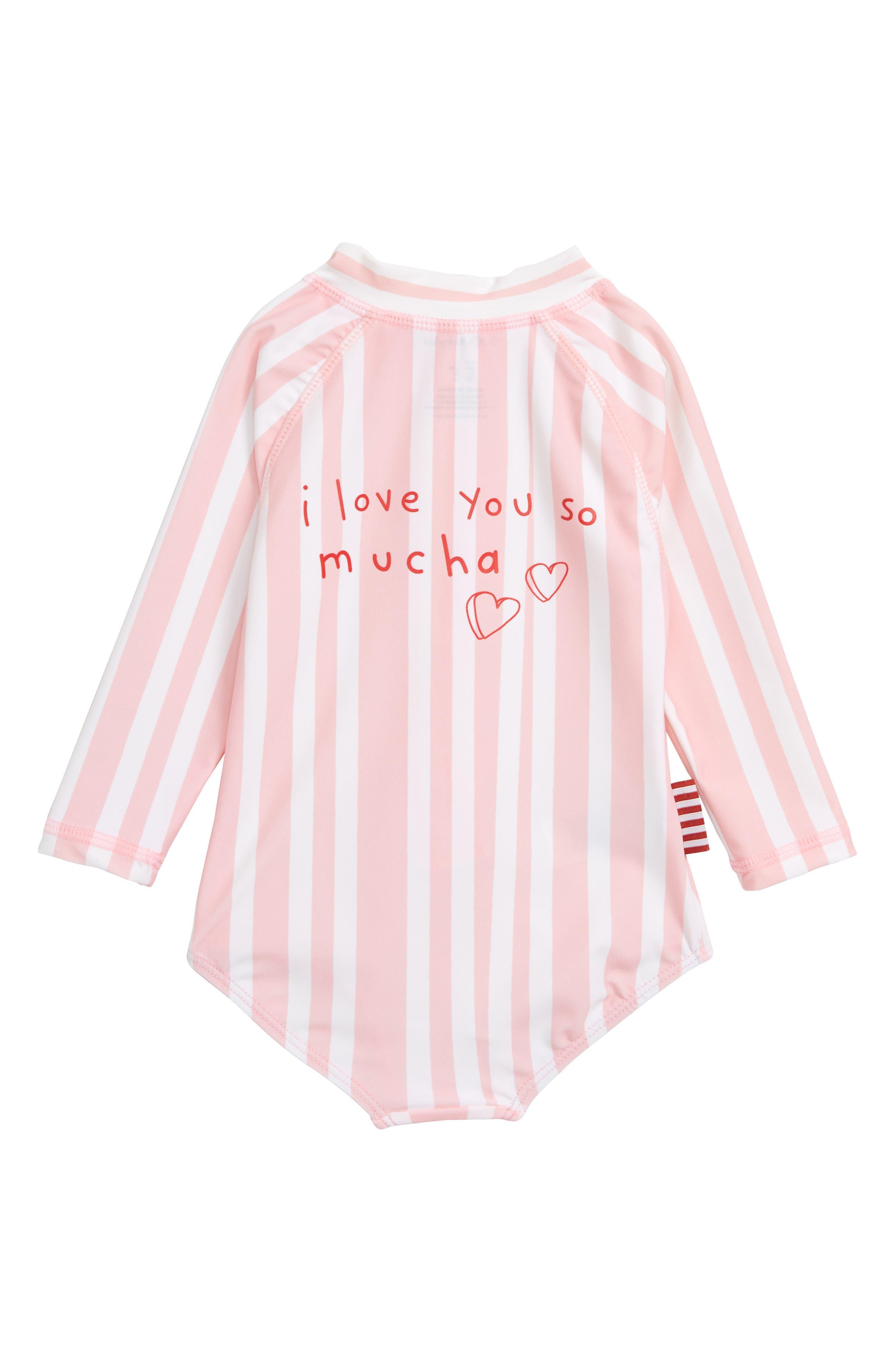 Love You Mucha One-Piece Rashguard Swimsuit,                             Alternate thumbnail 2, color,                             650