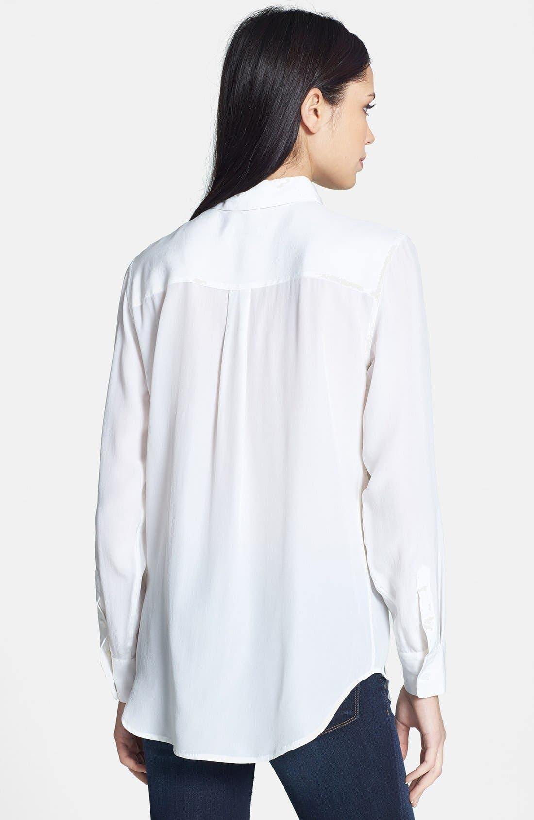'Slim Signature' Silk Shirt,                             Alternate thumbnail 8, color,                             BRIGHT WHITE