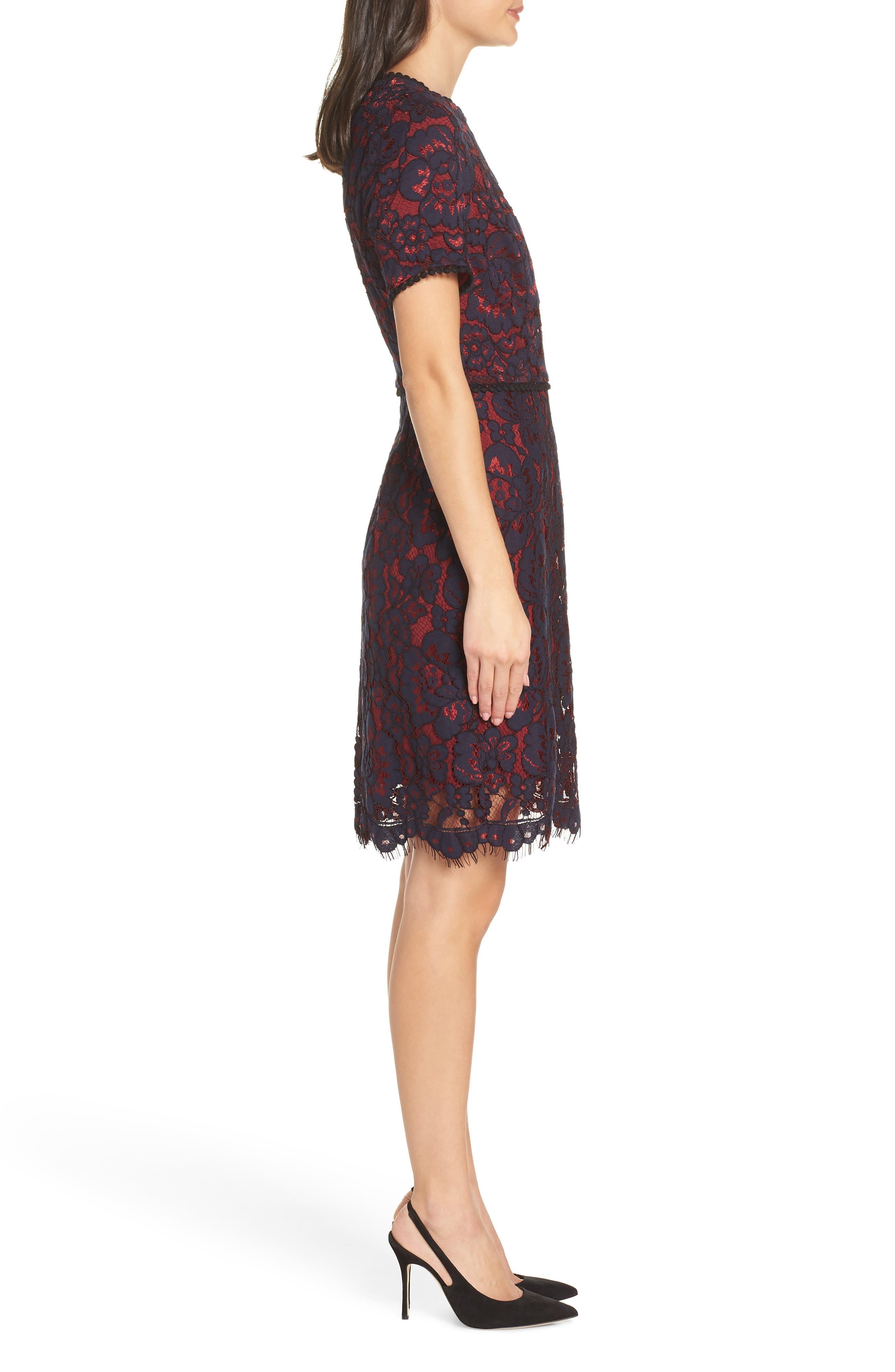 Lace Sheath Dress,                             Alternate thumbnail 3, color,                             NAVY/ WINE LACE
