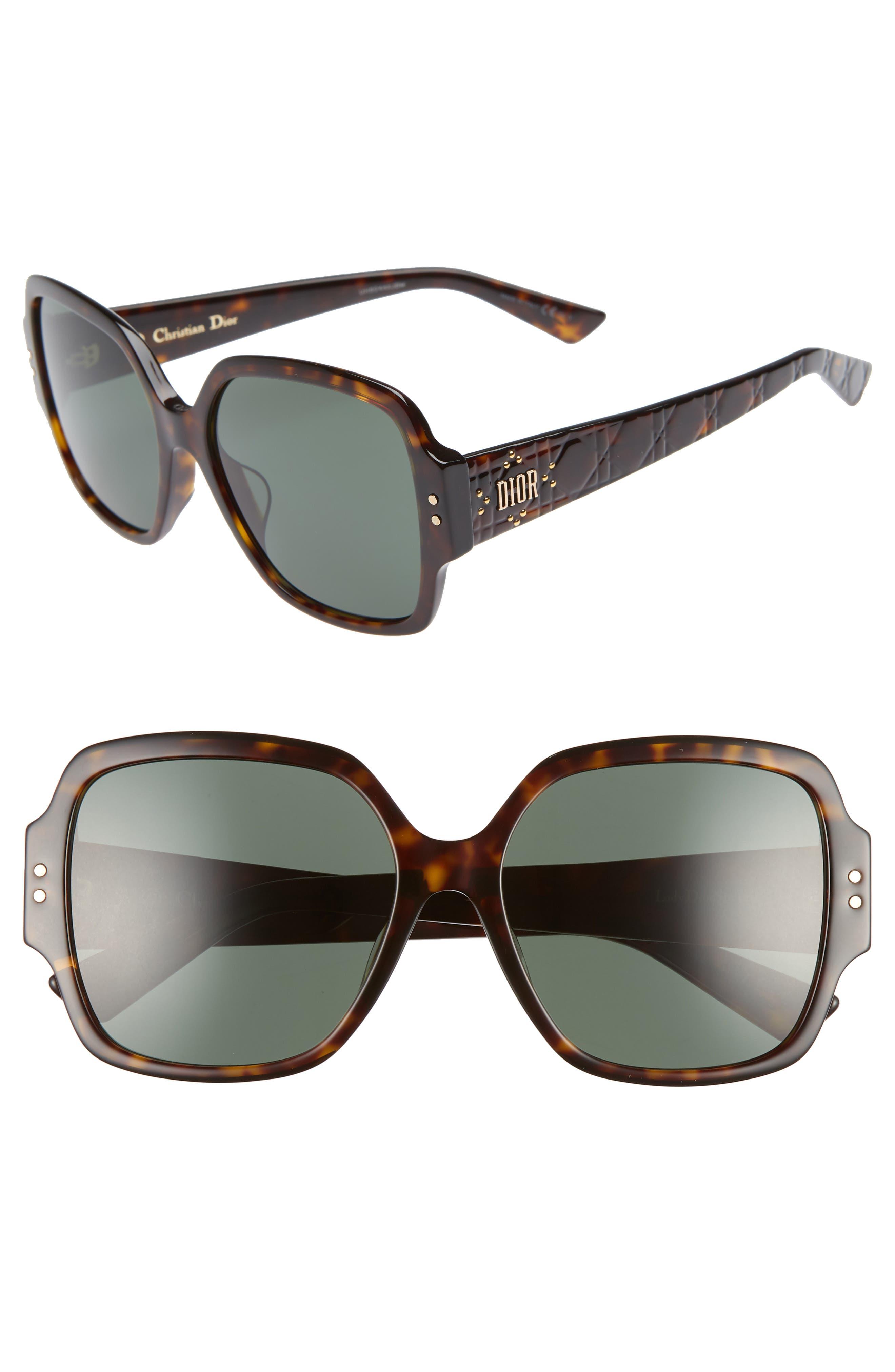 Stud 57Mm Special Fit Square Sunglasses - Dark Havana