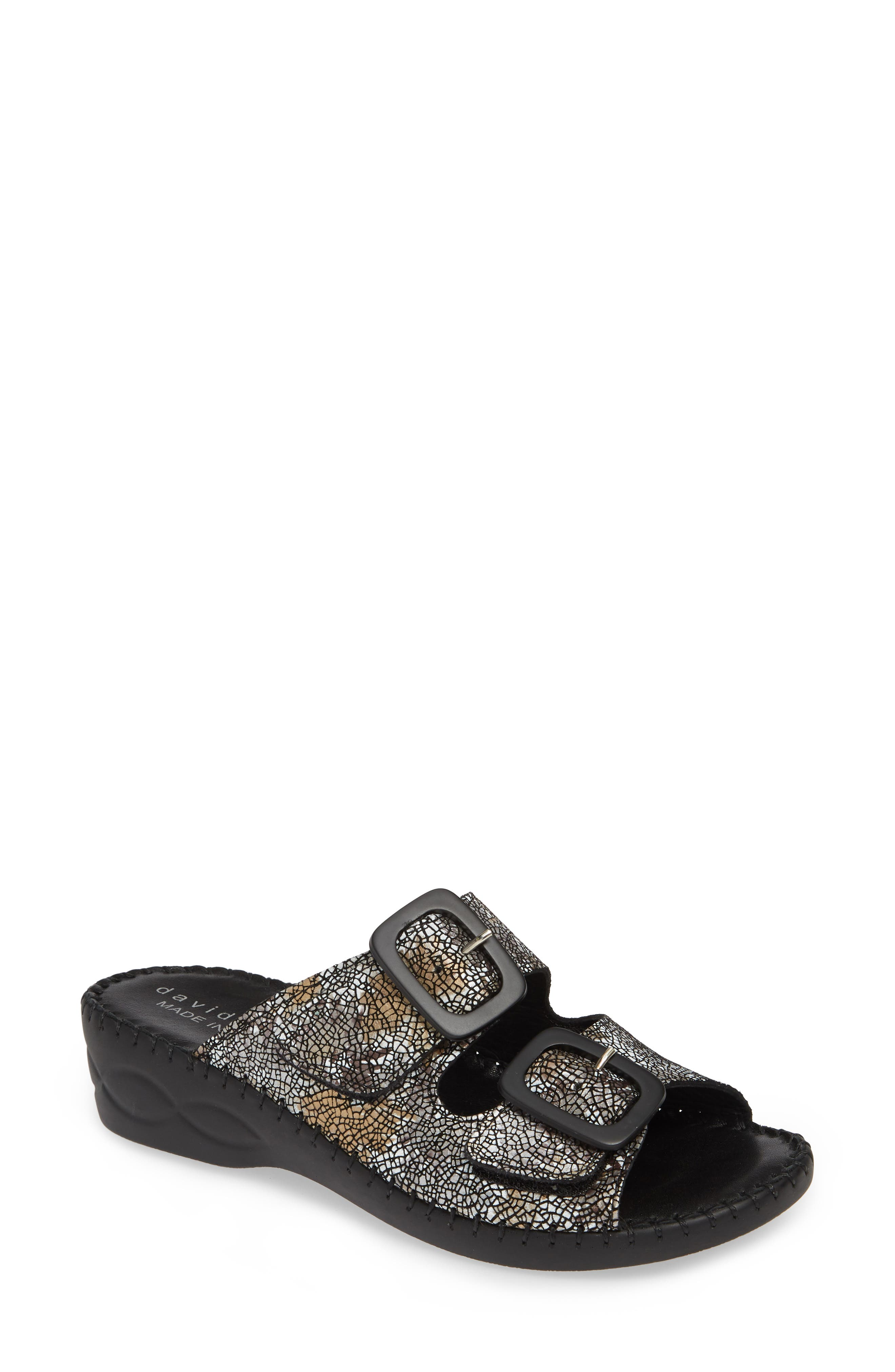 La Vida Slide Sandal, Main, color, BLACK LEATHER