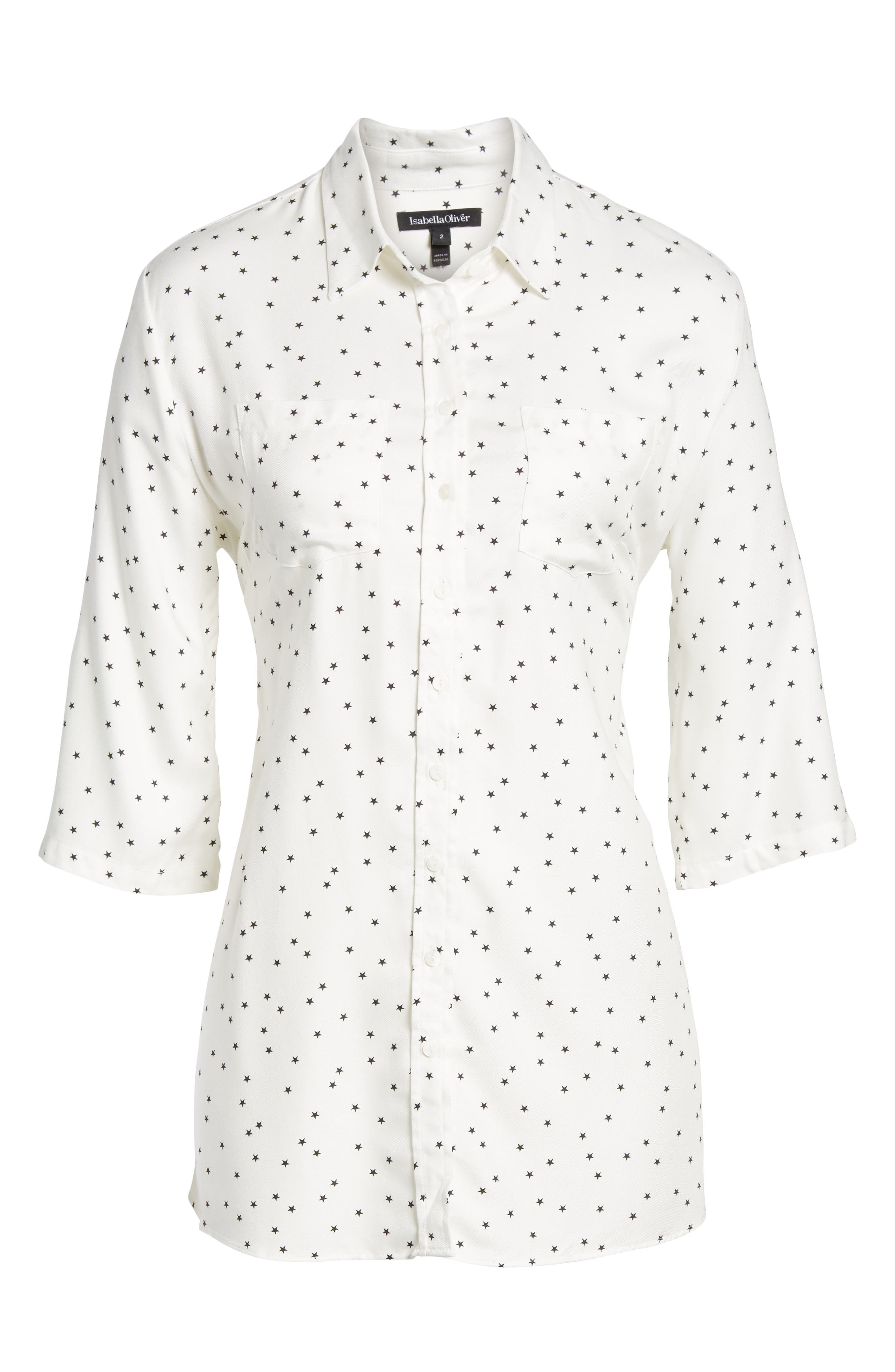 Selina Maternity Shirt,                             Alternate thumbnail 6, color,                             OFF WHITE STAR PRINT