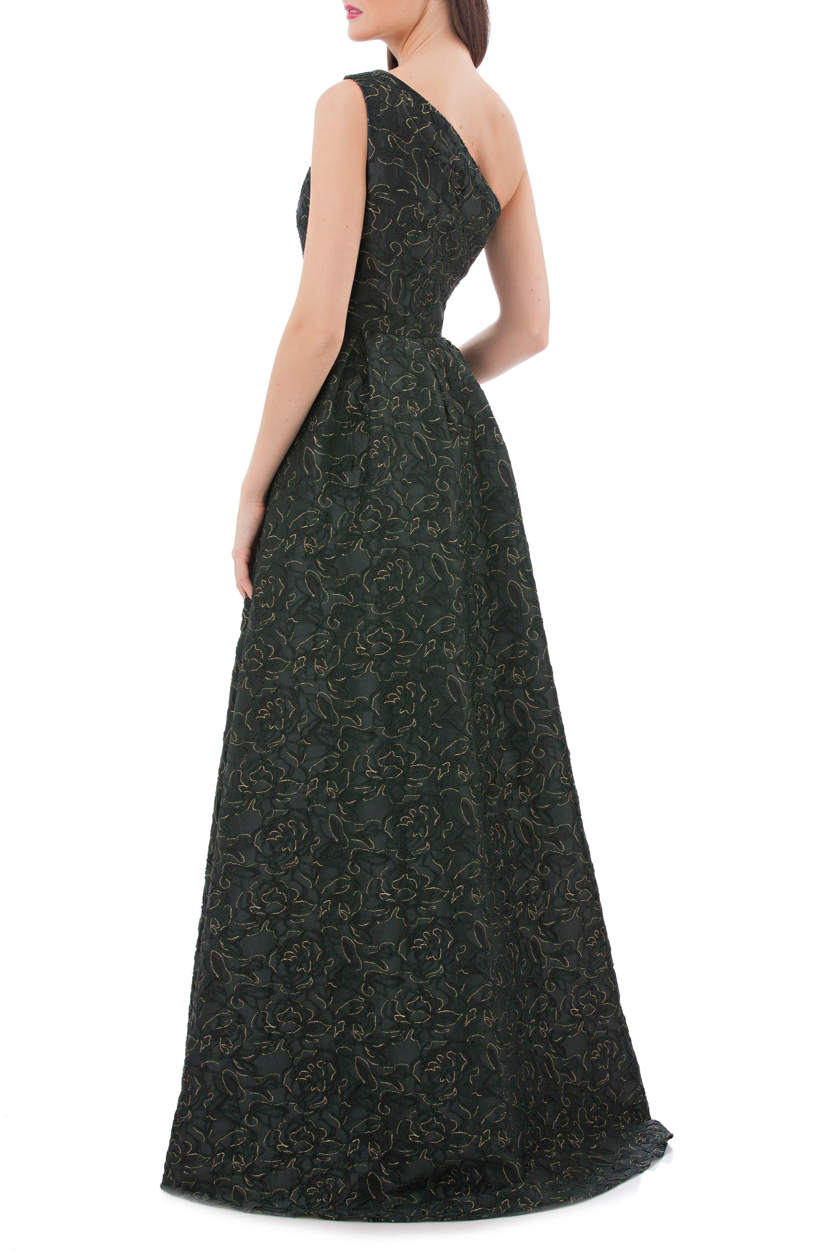 Metallic Brocade One-Shoulder Gown,                             Alternate thumbnail 2, color,                             300
