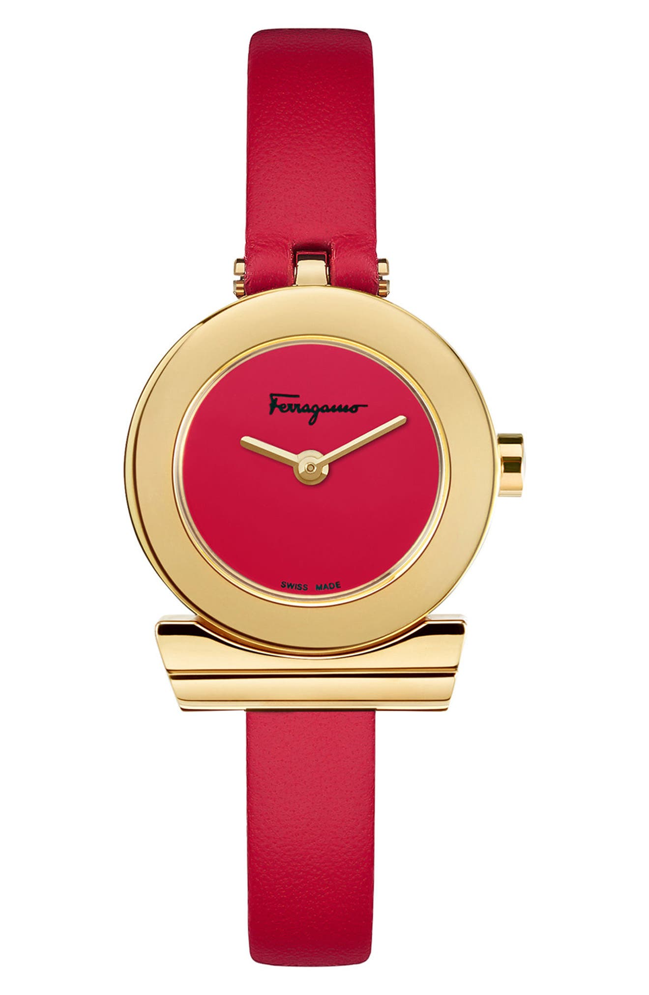 Gancino Leather Strap Watch, 22mm,                             Main thumbnail 1, color,                             RED/ GOLD