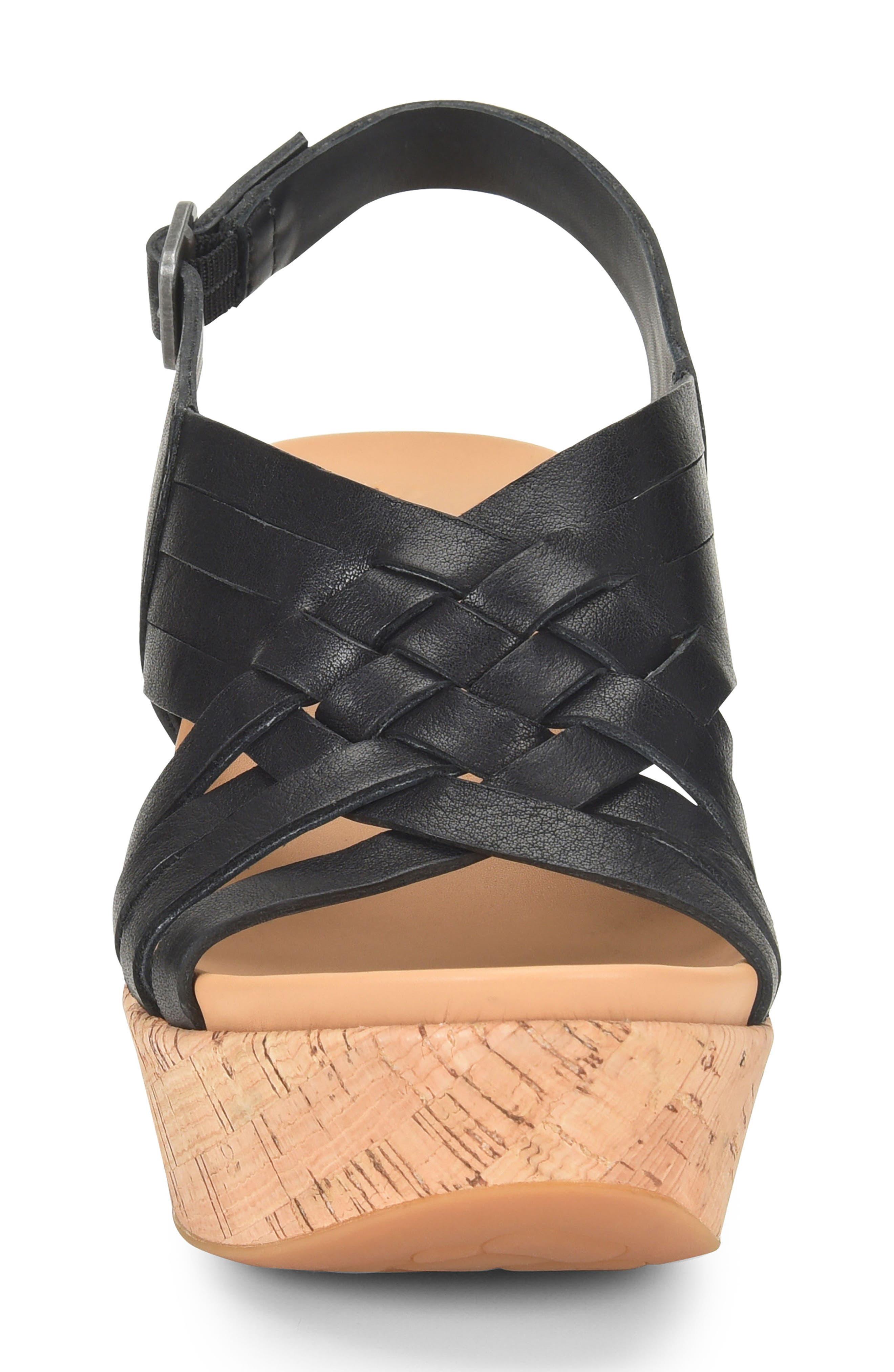 Adelanto Wedge Sandal,                             Alternate thumbnail 4, color,                             BLACK LEATHER
