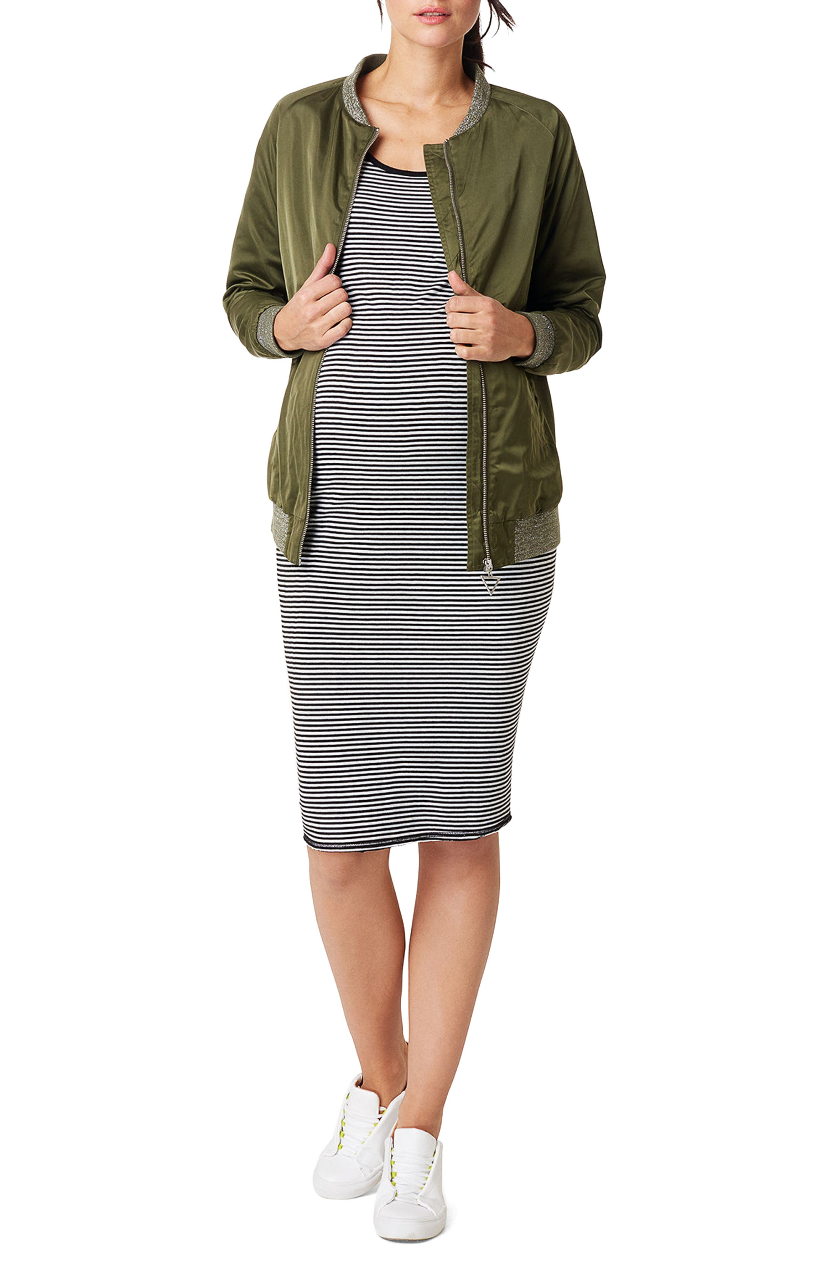 Nora Stripe Maternity Tank Dress,                         Main,                         color, BLACK