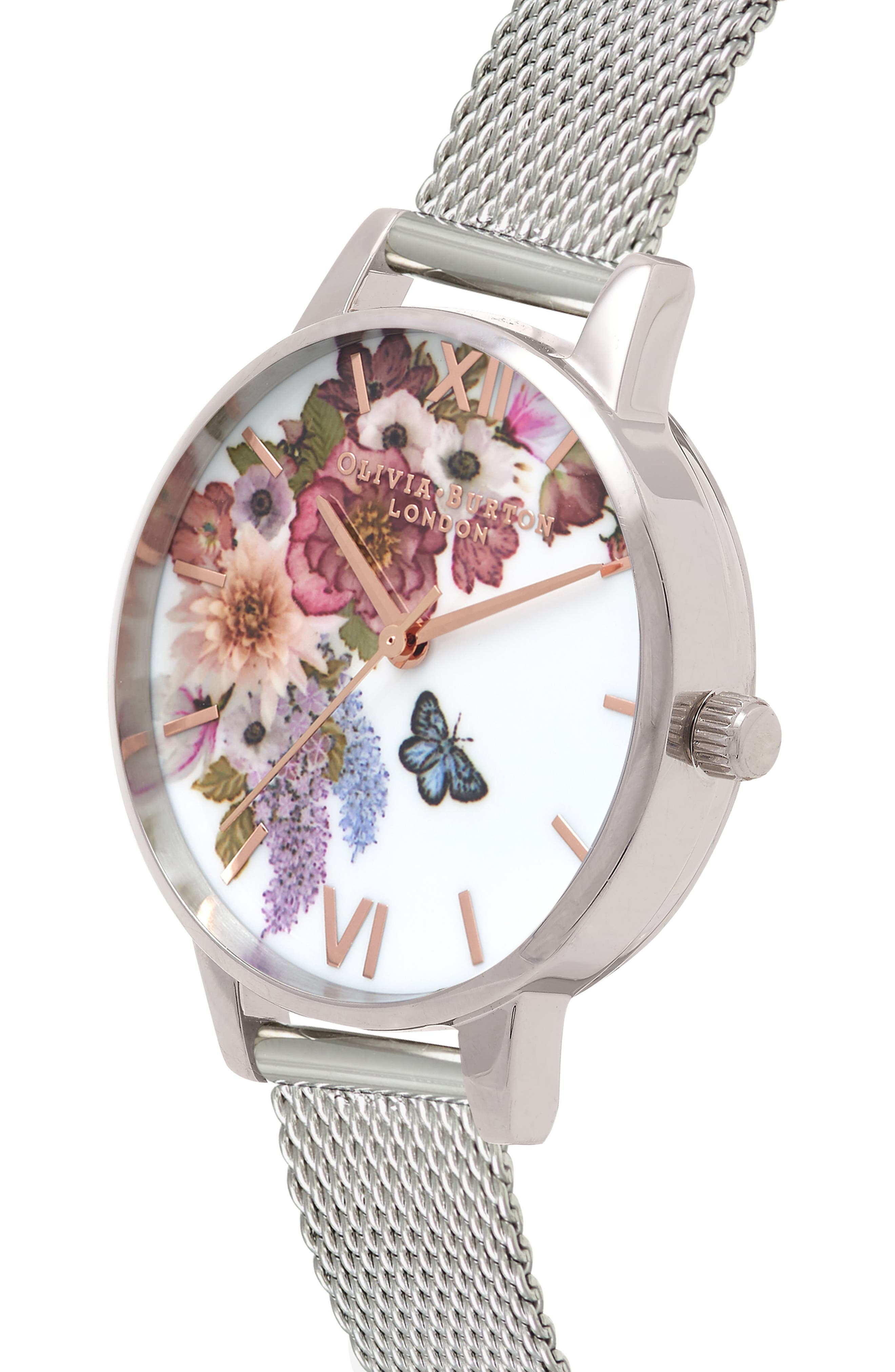 Enchanted Garden Mesh Strap Watch, 30mm,                             Alternate thumbnail 3, color,                             SILVER/ FLORAL/ ROSE GOLD