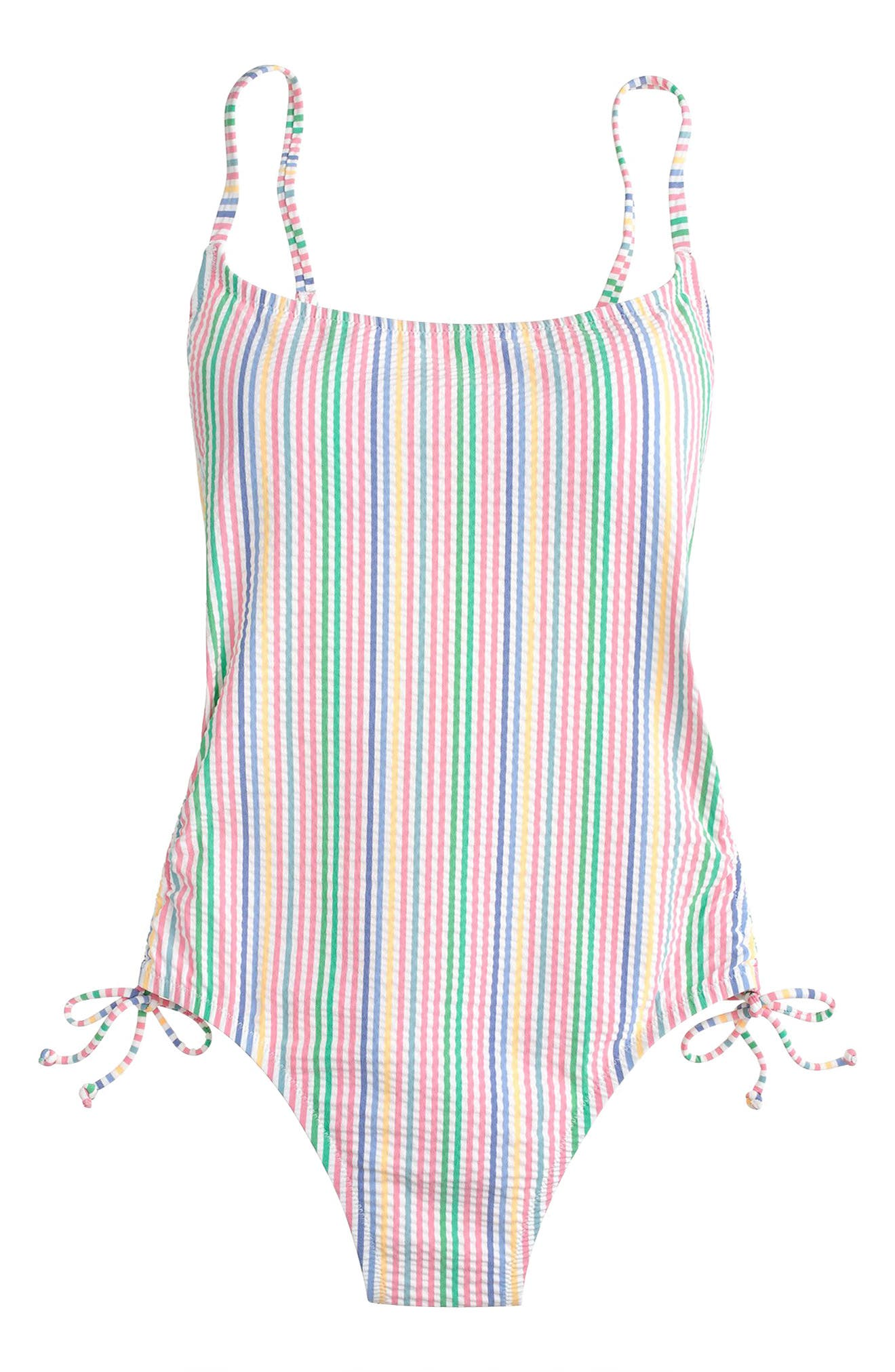 Ruched Seersucker One-Piece Swimsuit,                             Alternate thumbnail 4, color,
