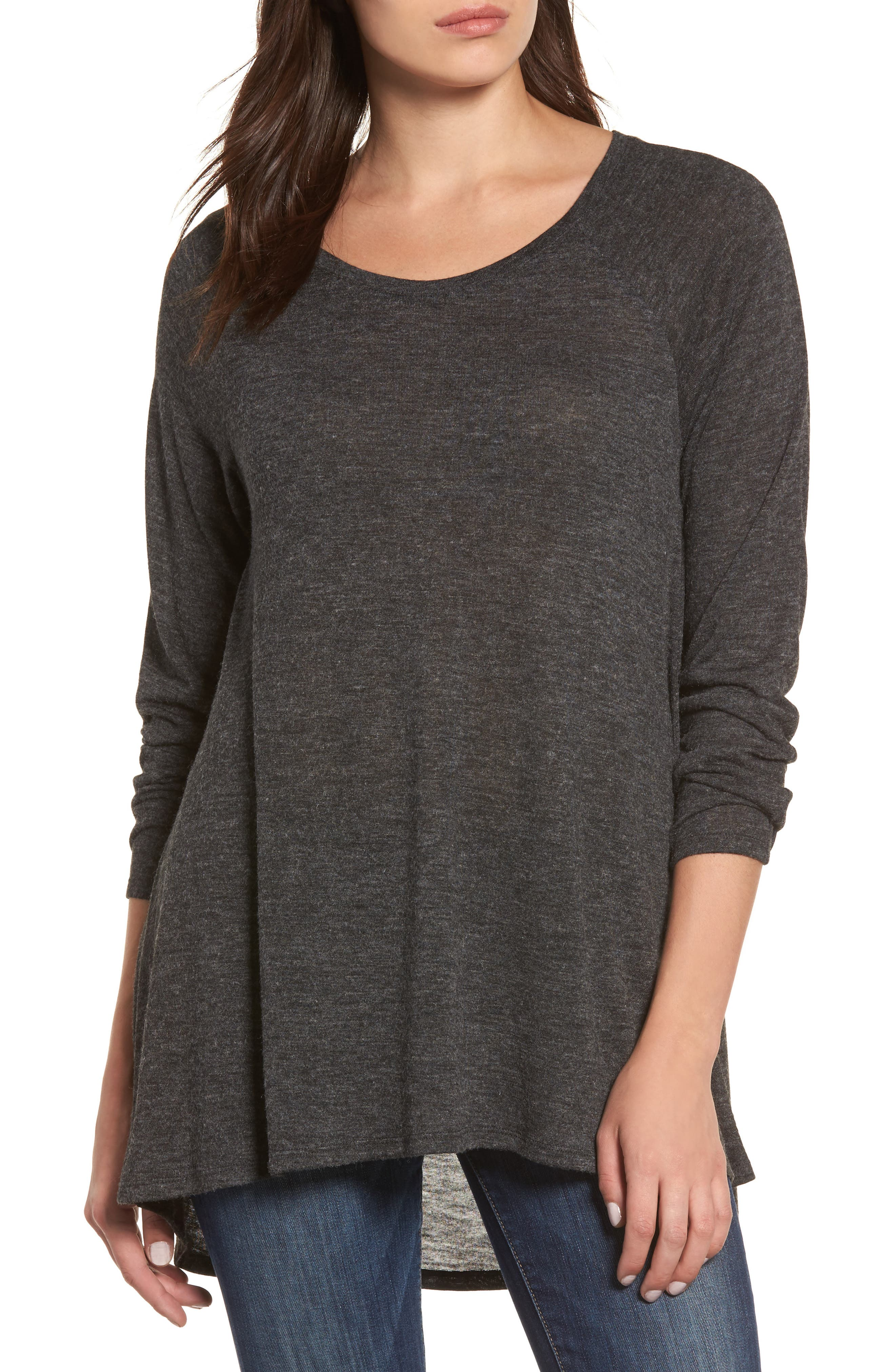 High/Low Tunic Sweatshirt,                         Main,                         color, 001