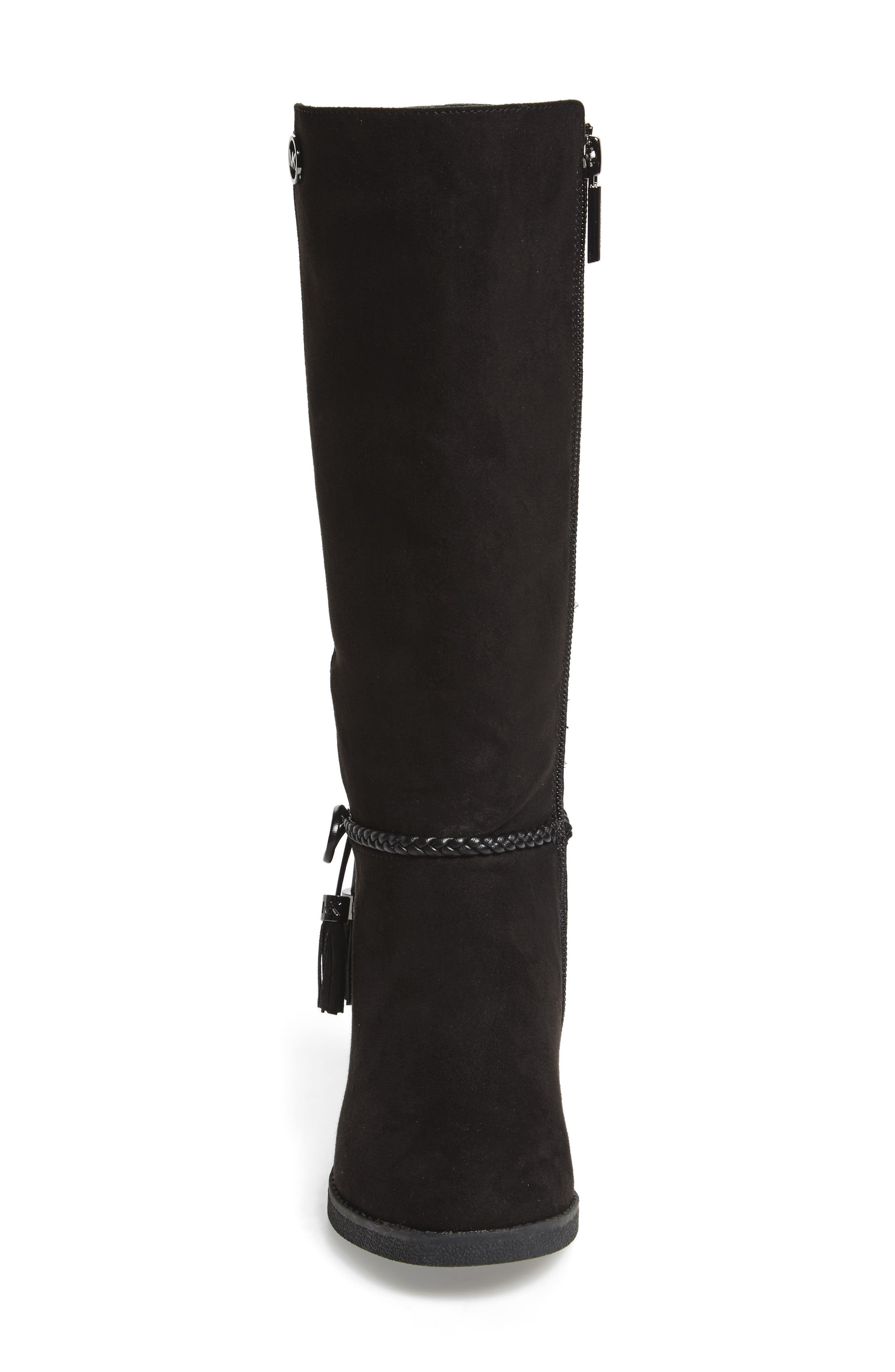 Fawn Simmy Riding Boot,                             Alternate thumbnail 4, color,                             BLACK FAUX SUEDE