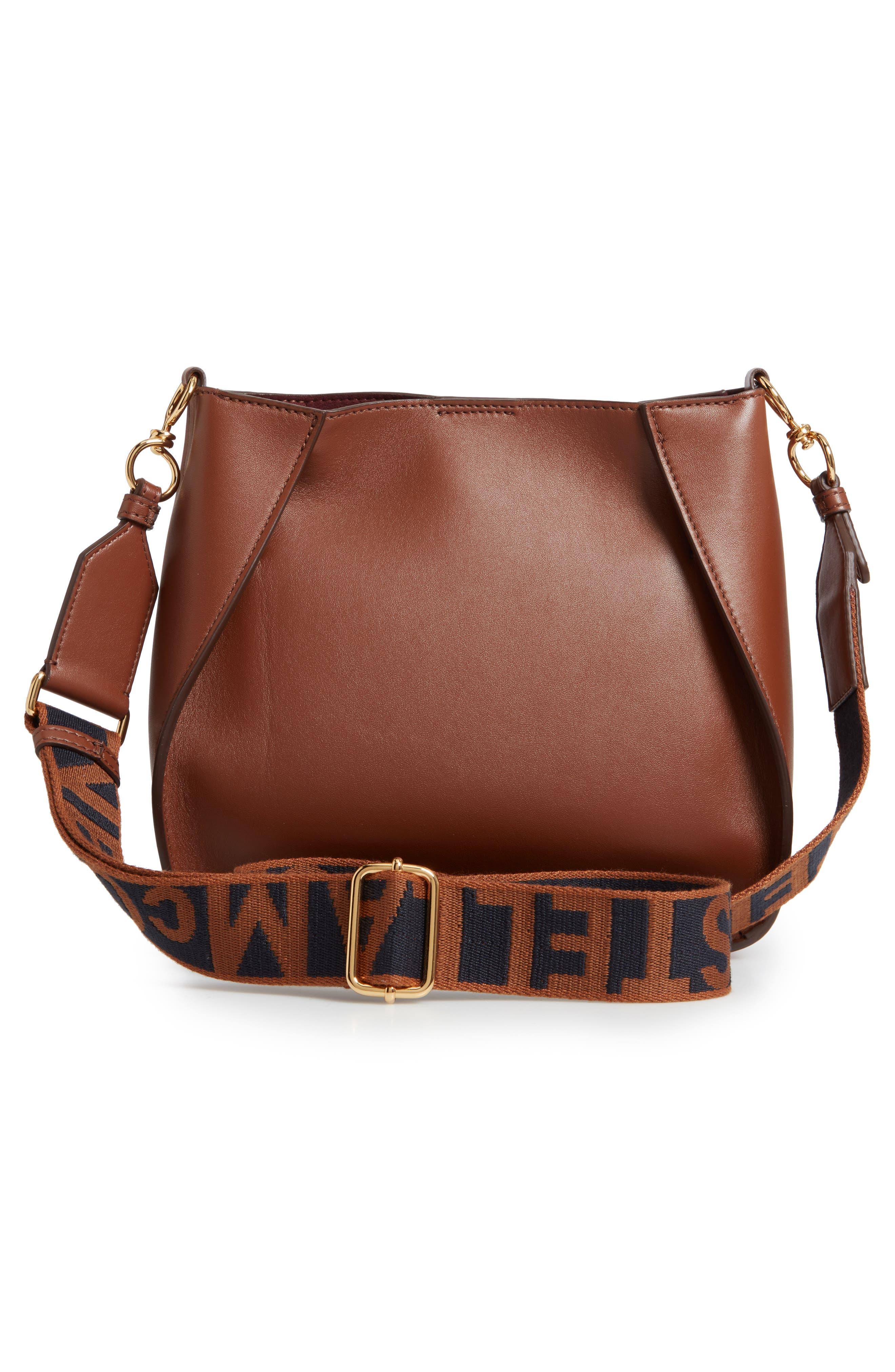 Perforated Logo Faux Leather Crossbody Bag,                             Alternate thumbnail 3, color,                             CINNAMON
