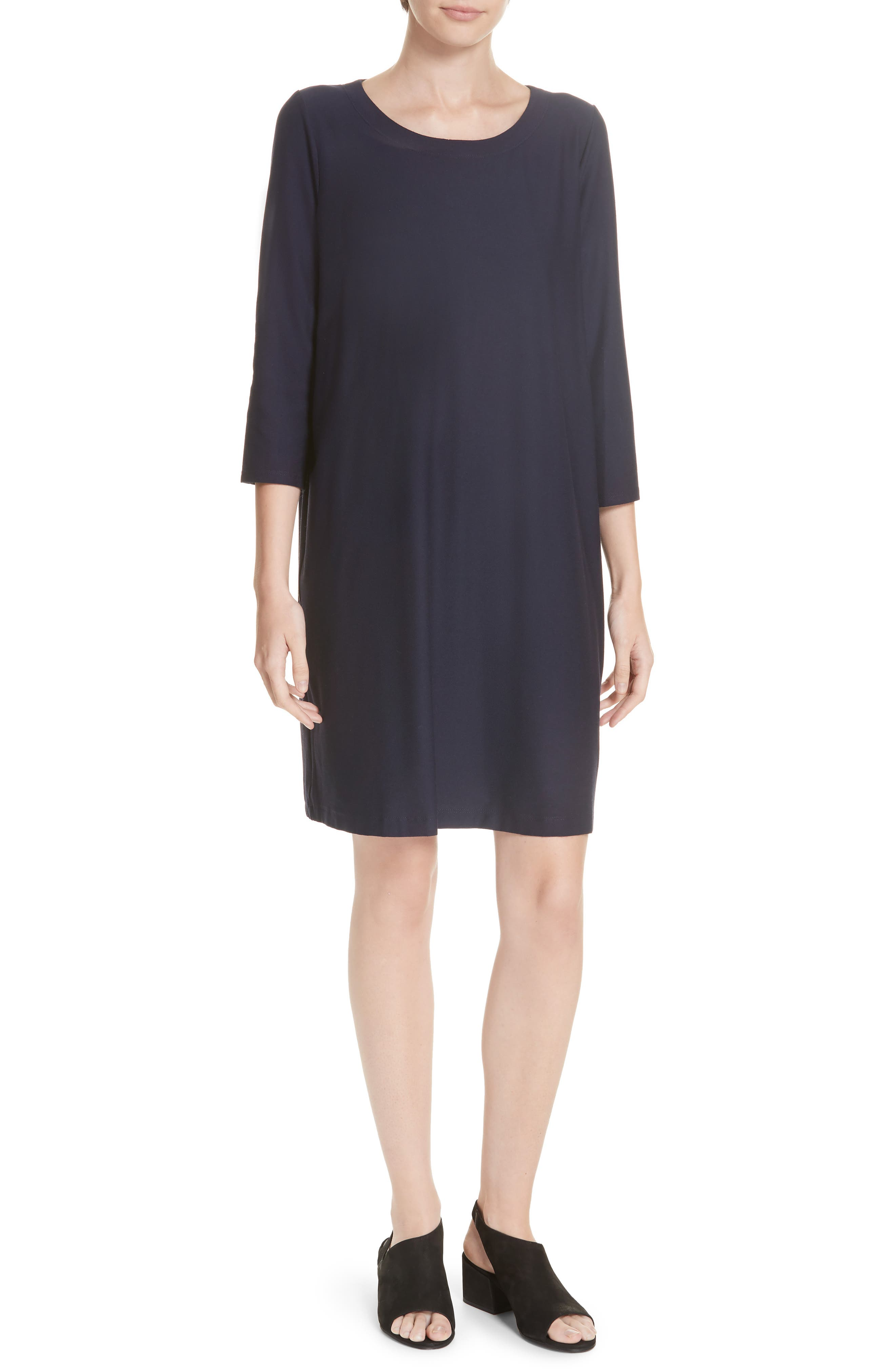Scoop Neck Knee Length Shift Dress,                             Main thumbnail 1, color,                             MIDNIGHT