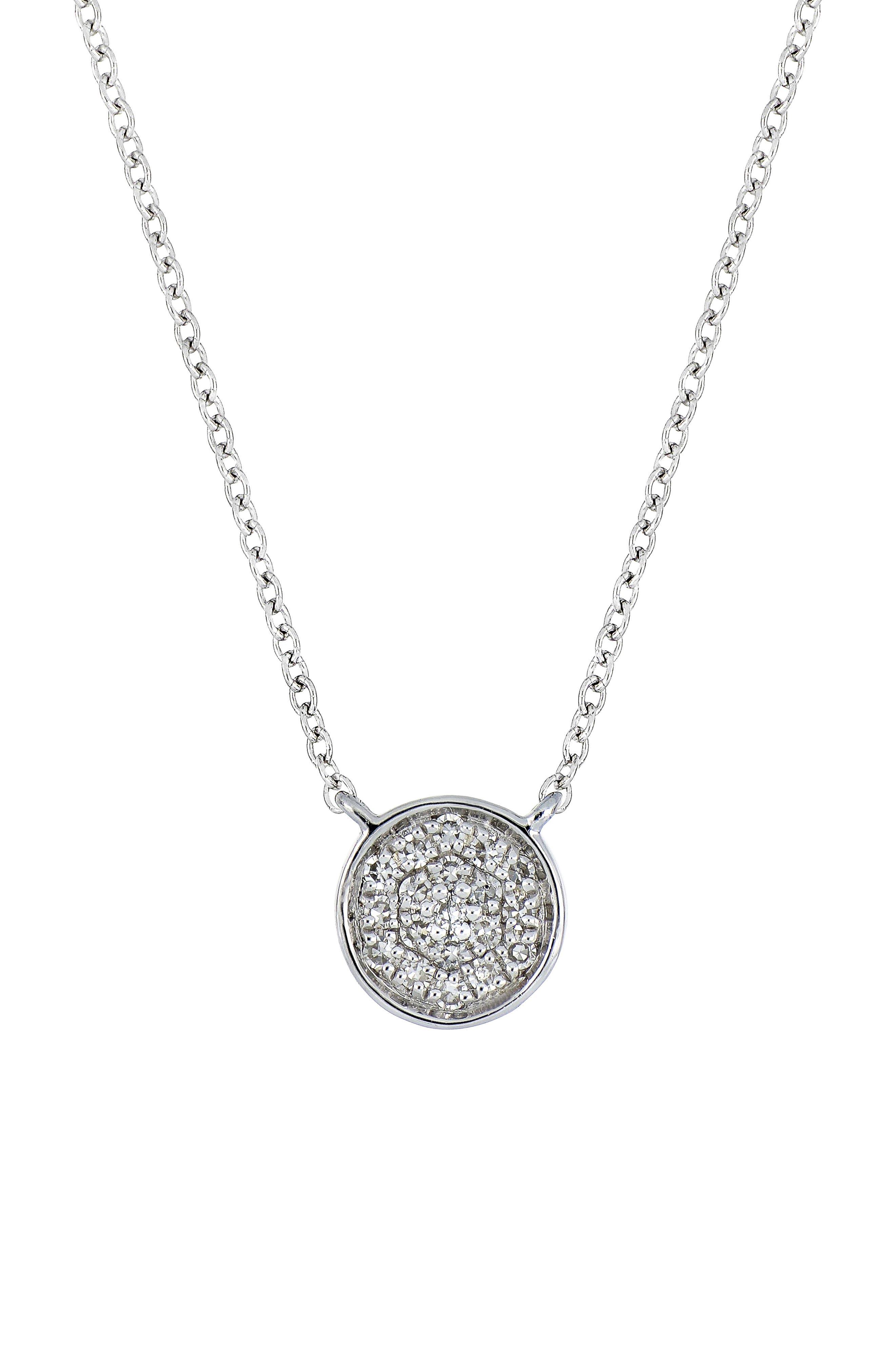Carrière Diamond Pavé Disc Pendant,                         Main,                         color, STERLING SILVER/ DIAMOND