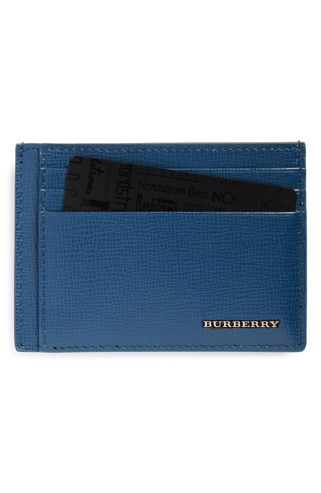 BURBERRY,                             'Bernie' Leather Card Case,                             Main thumbnail 1, color,                             452