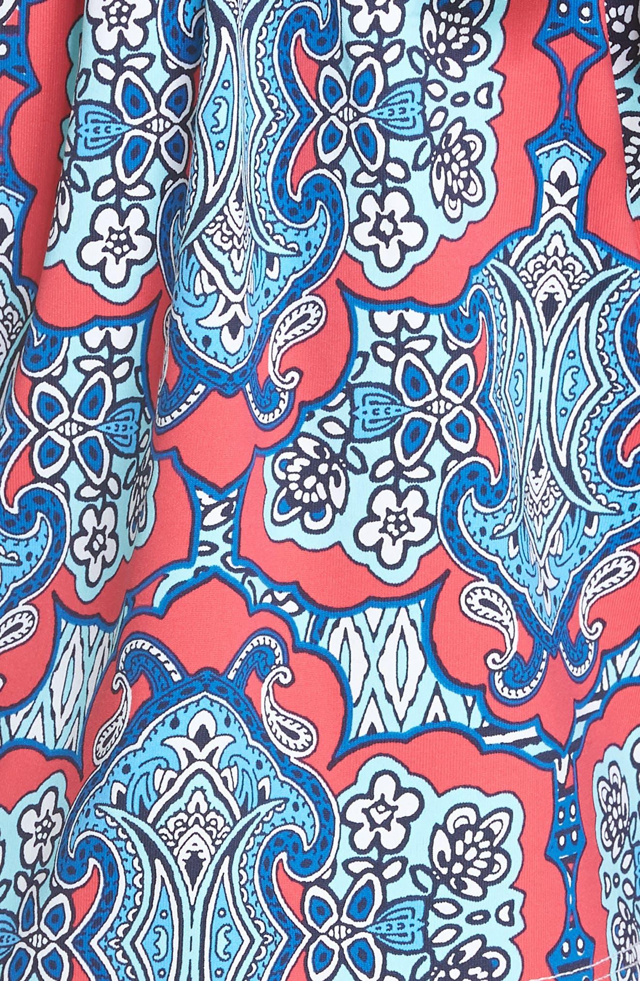 Riviera Tiles Cover-Up Shorts,                             Alternate thumbnail 5, color,                             CERISE