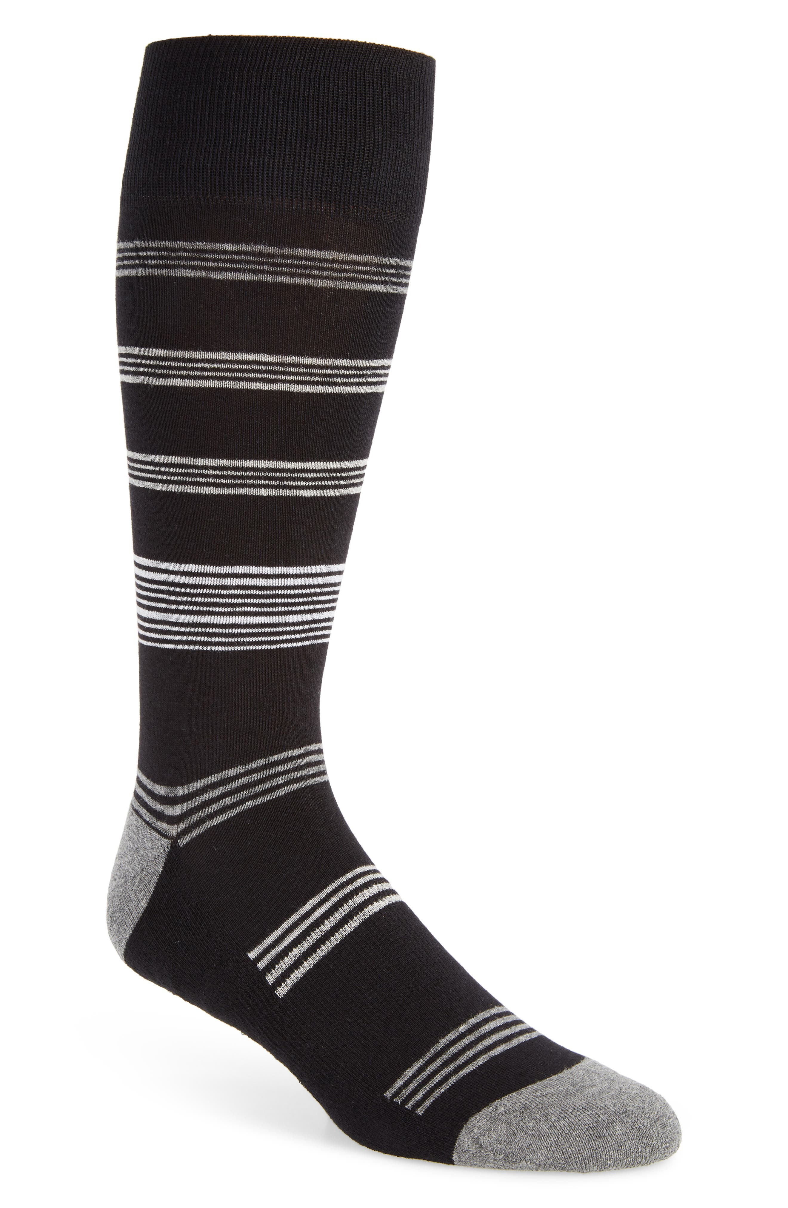 Stripe Socks,                         Main,                         color, BLACK/ GREY