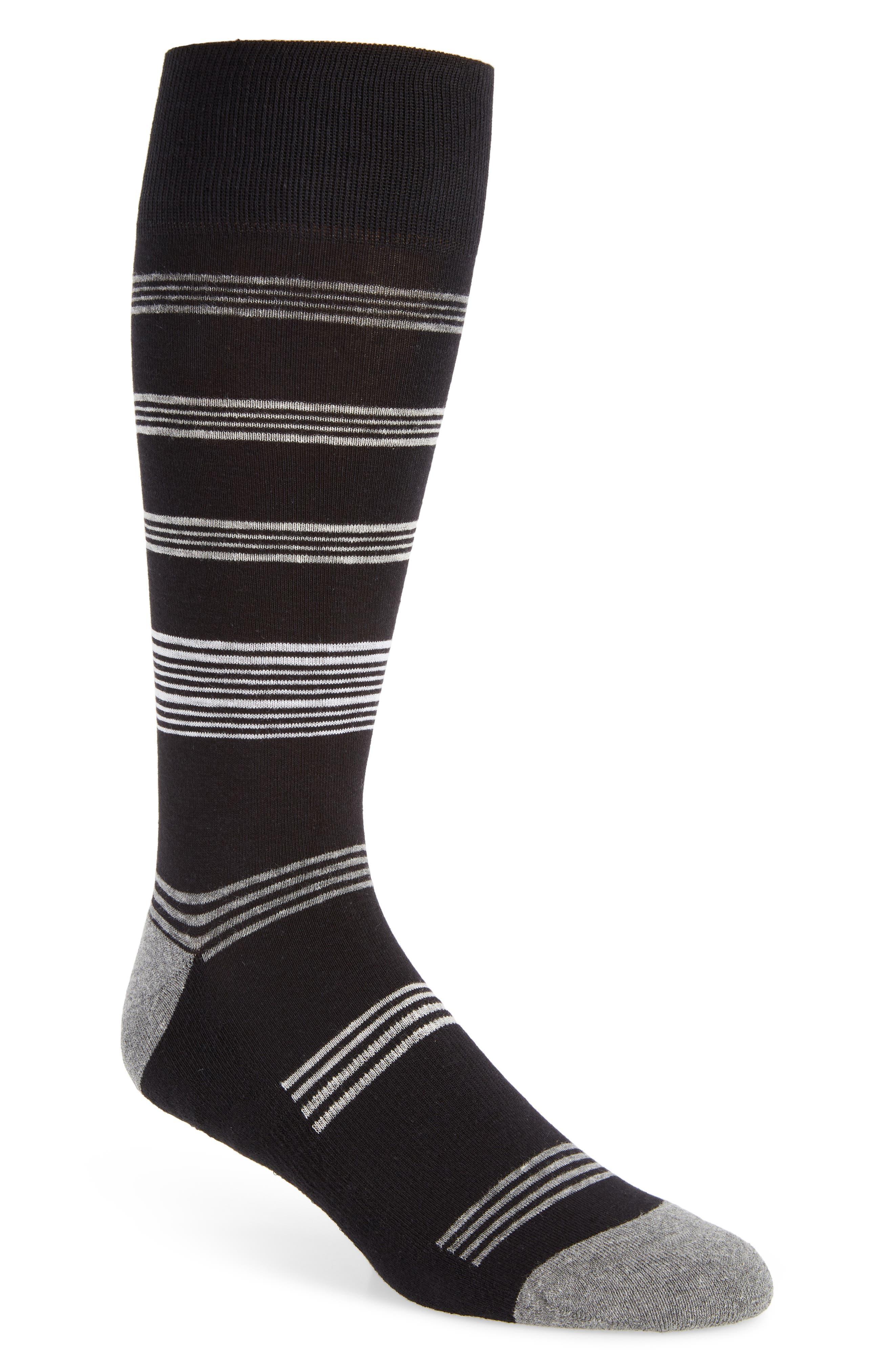 Stripe Socks, Main, color, BLACK/ GREY