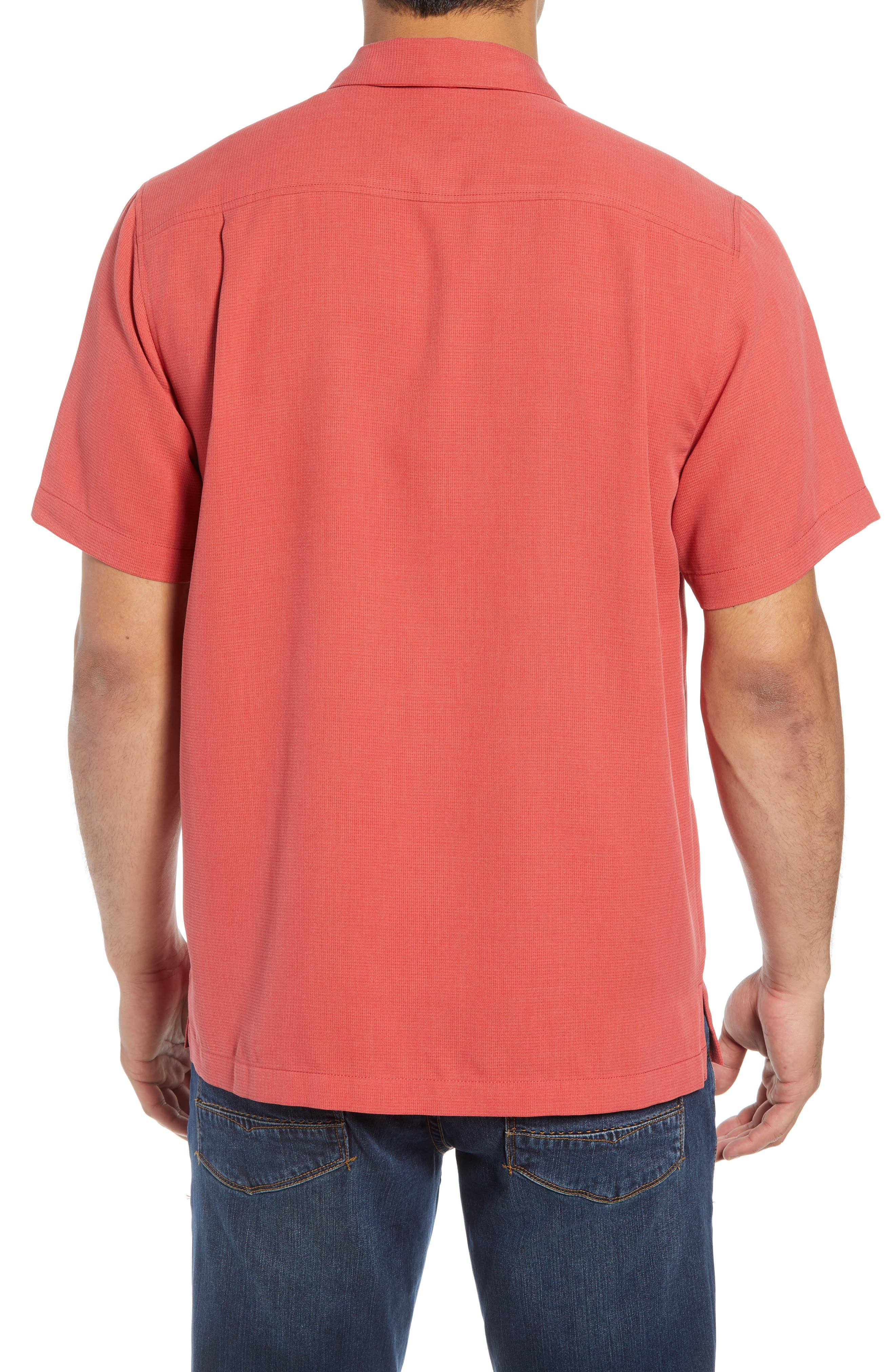 Royal Bermuda Silk Blend Camp Shirt,                             Alternate thumbnail 3, color,                             WILD GERANIUM