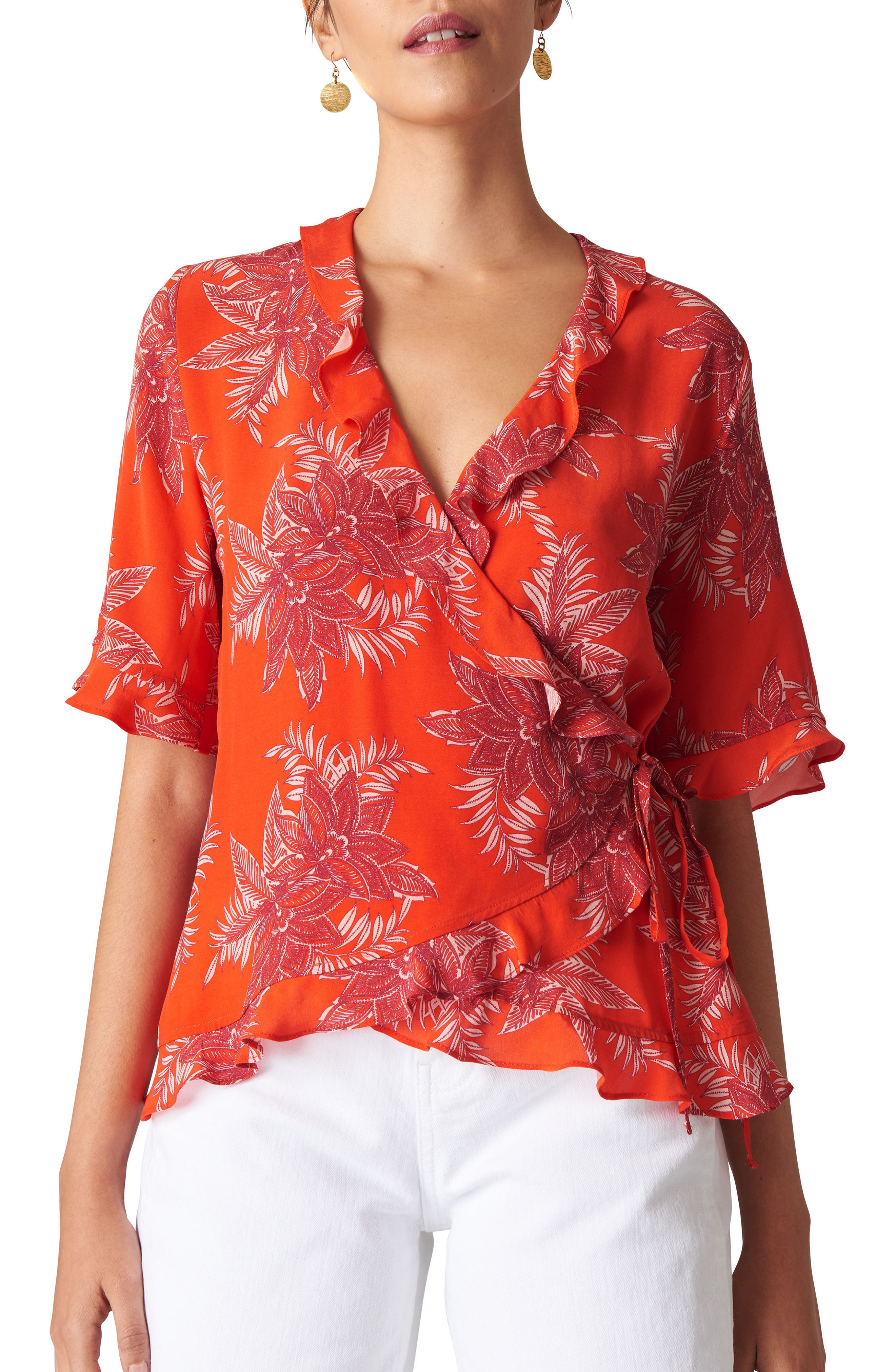 Palmyra Print Wrap Top,                             Main thumbnail 1, color,                             FLAME/ MULTI