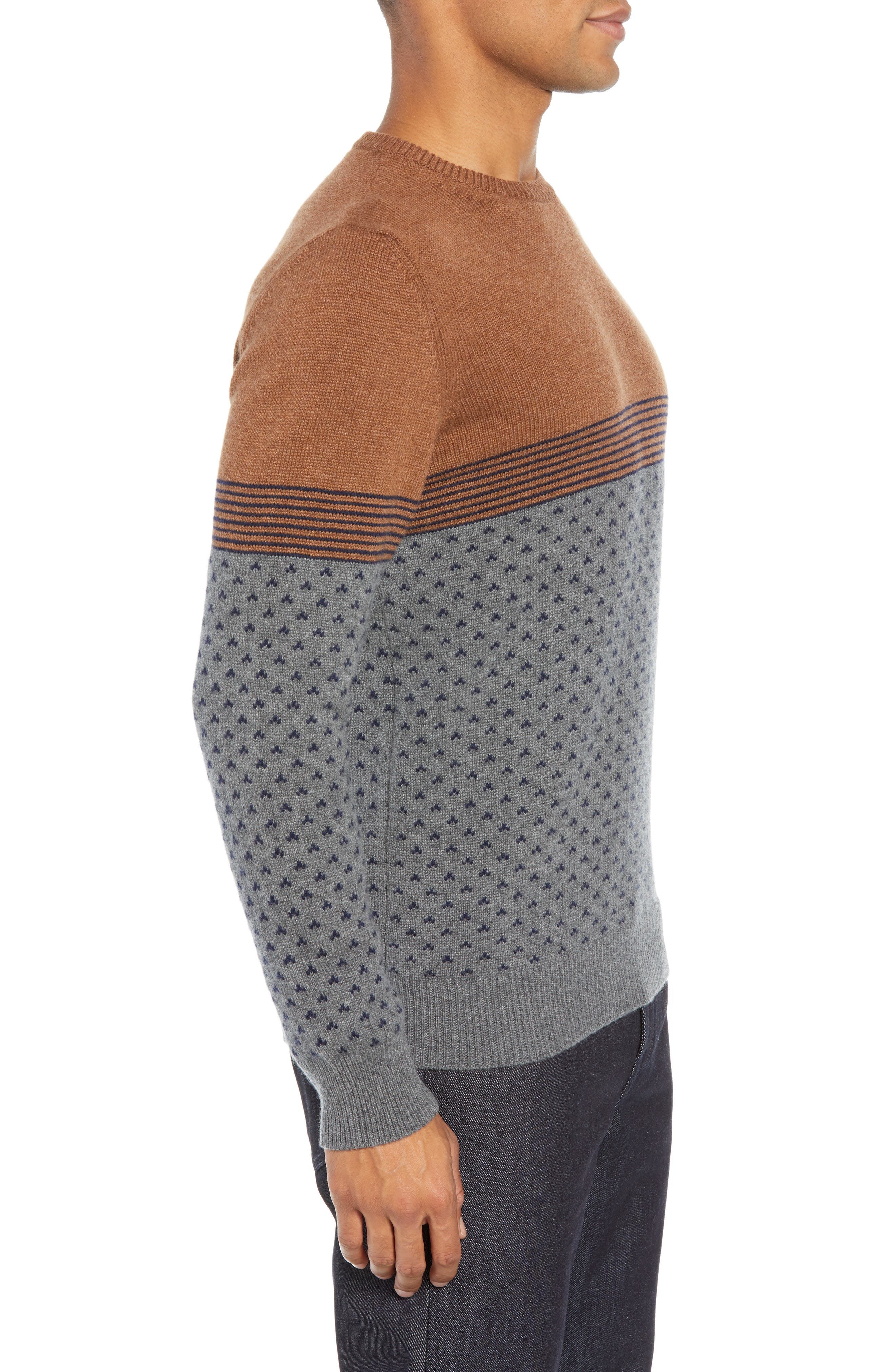 Trim Fit Cashmere Sweater,                             Alternate thumbnail 3, color,                             GREY