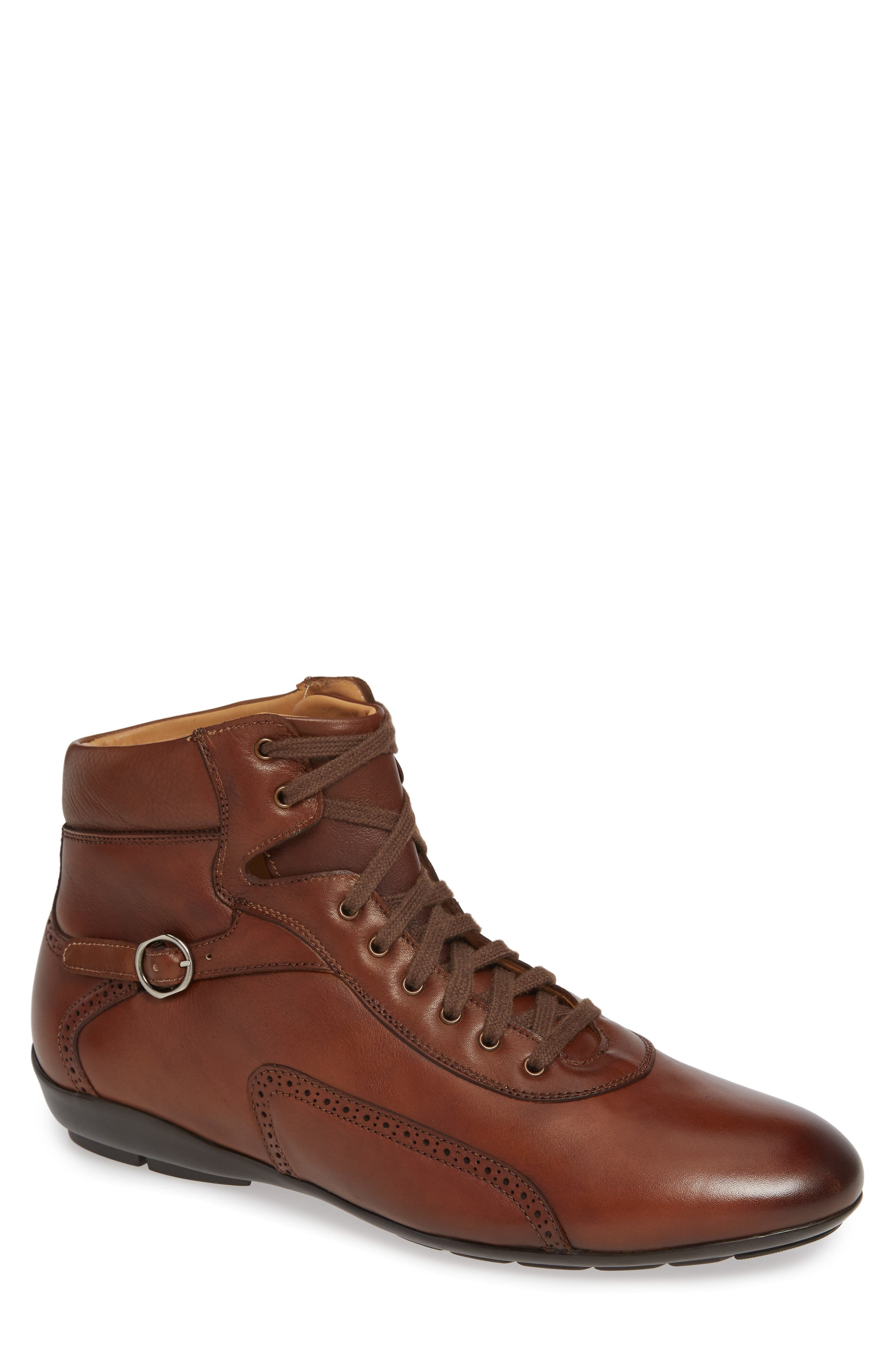Pasquale High Top Sneaker in Cognac Leather