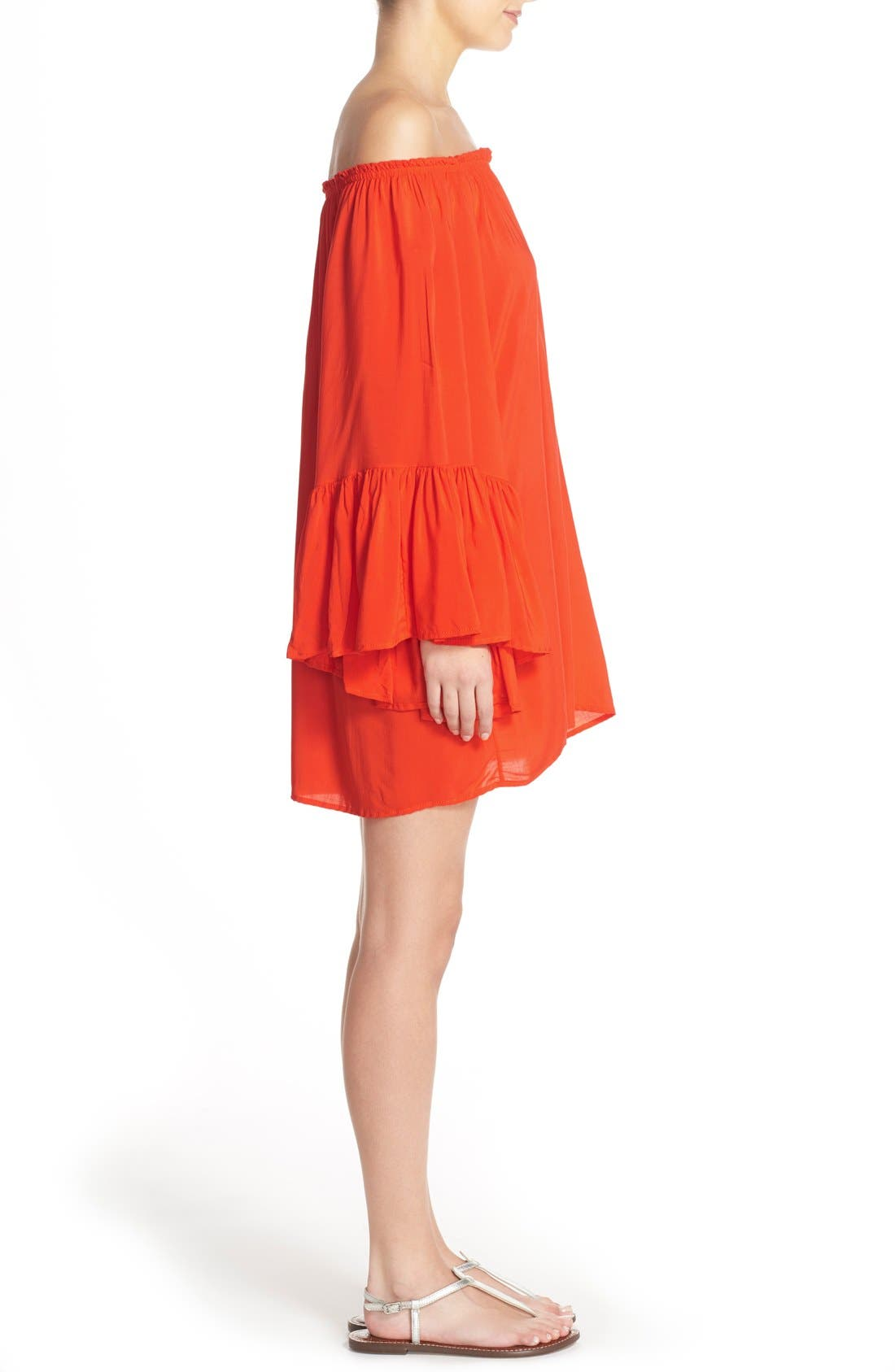 Bell Sleeve Cover-Up Tunic Dress,                             Alternate thumbnail 17, color,