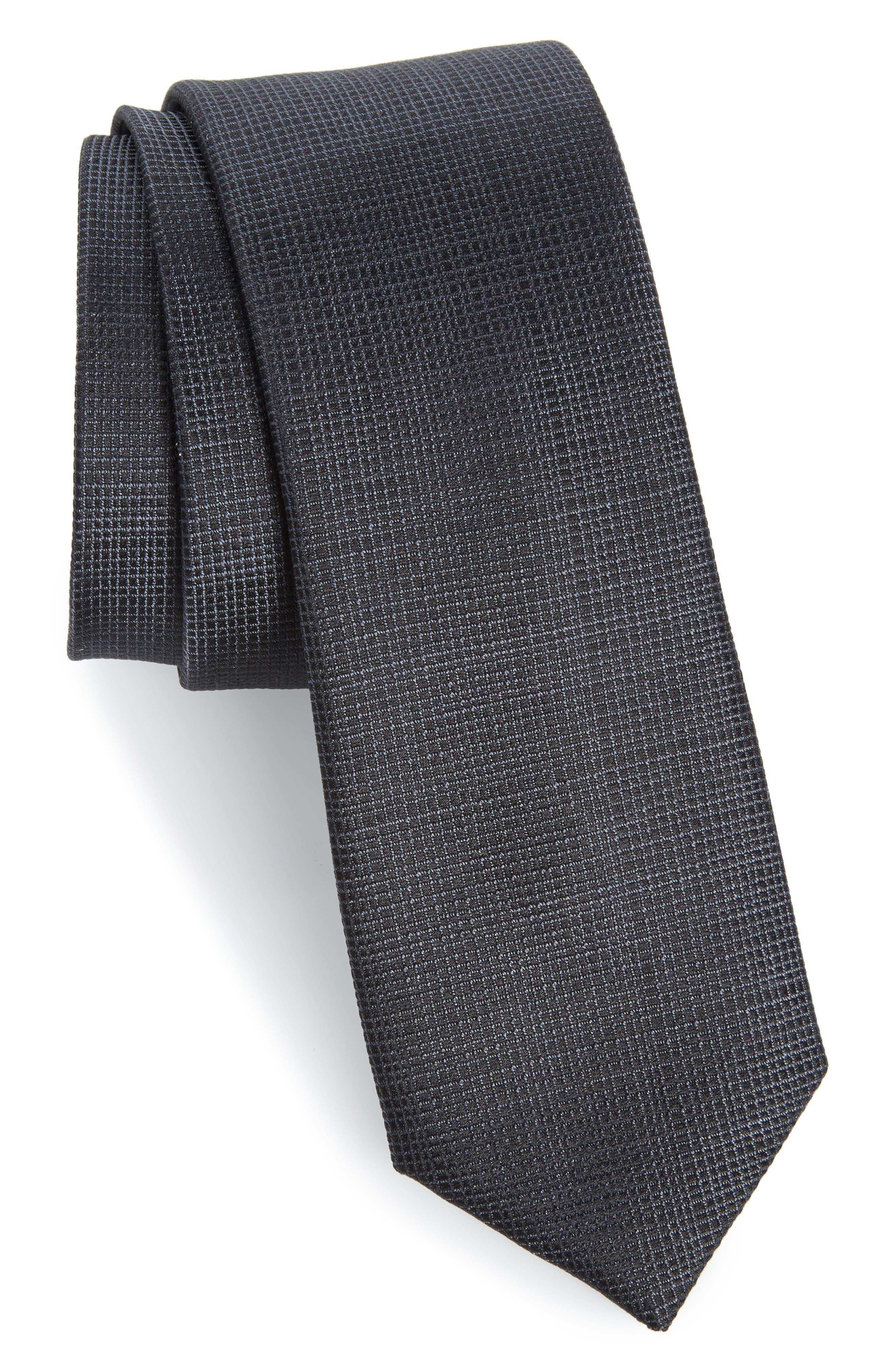 Saffron Solid Silk Skinny Tie,                             Main thumbnail 1, color,                             001