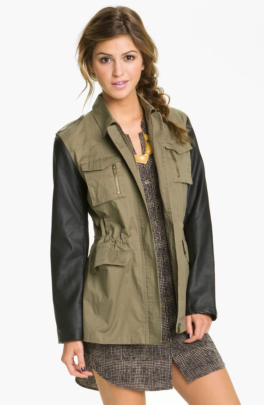BLU PEPPER,                             Faux Leather Sleeve Utility Jacket,                             Main thumbnail 1, color,                             331