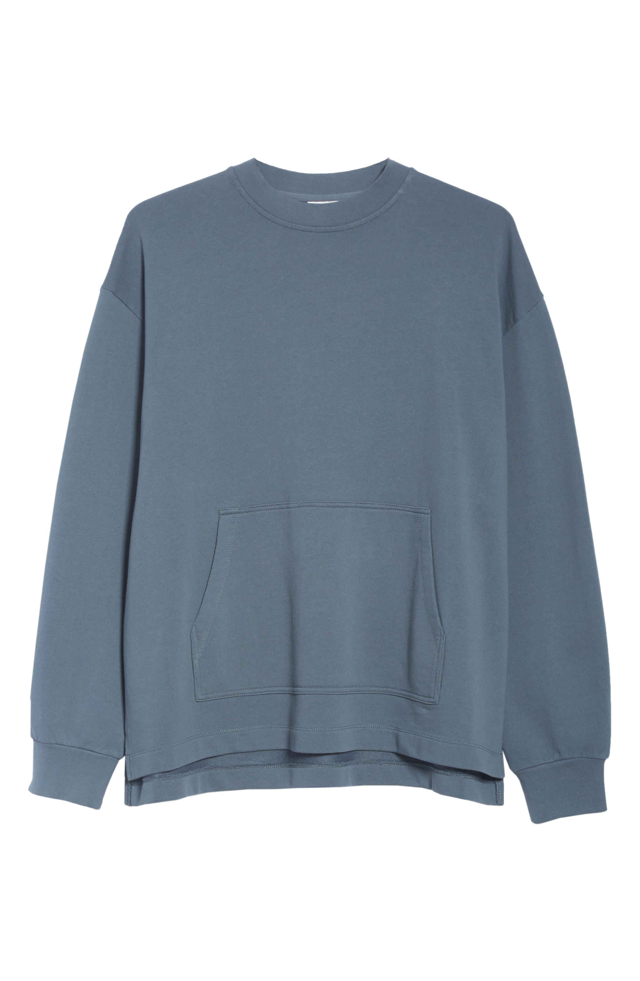 Fleece Knit Sweatshirt,                             Alternate thumbnail 6, color,                             GREY