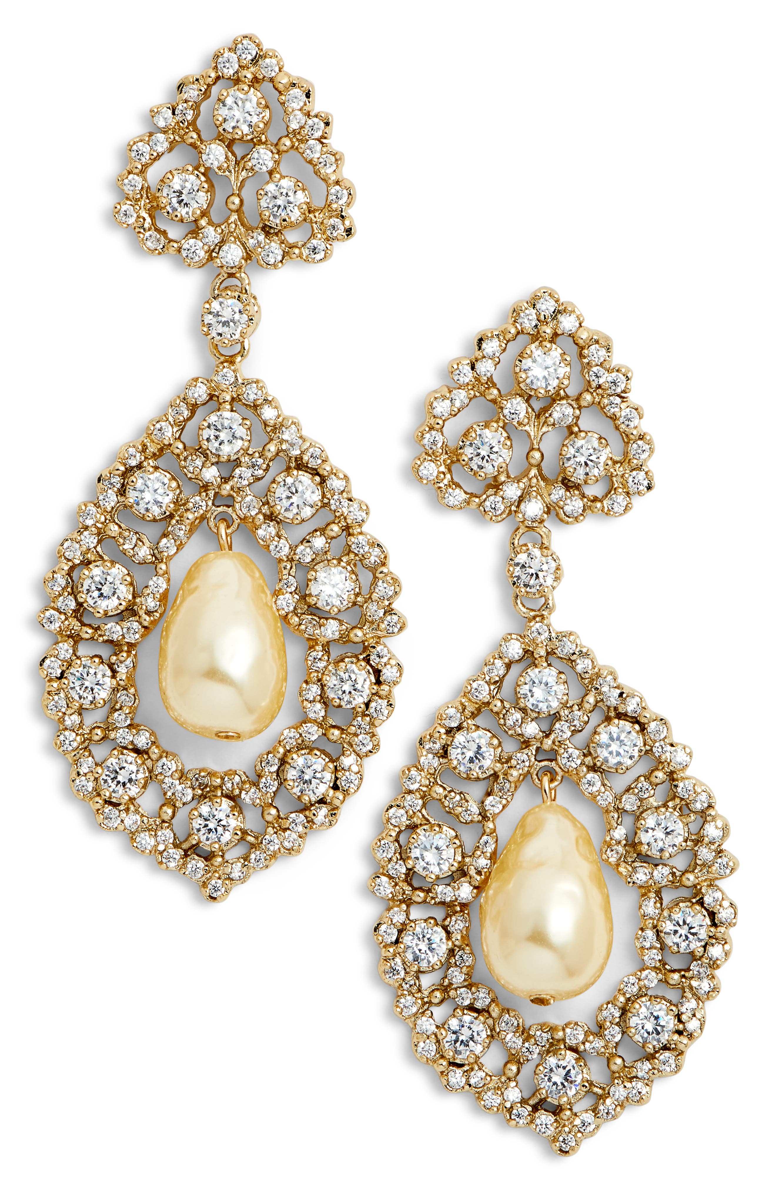 Rococo Double Drop Imitation Pearl Earrings,                             Main thumbnail 1, color,                             IVORY PEARL/ GOLD