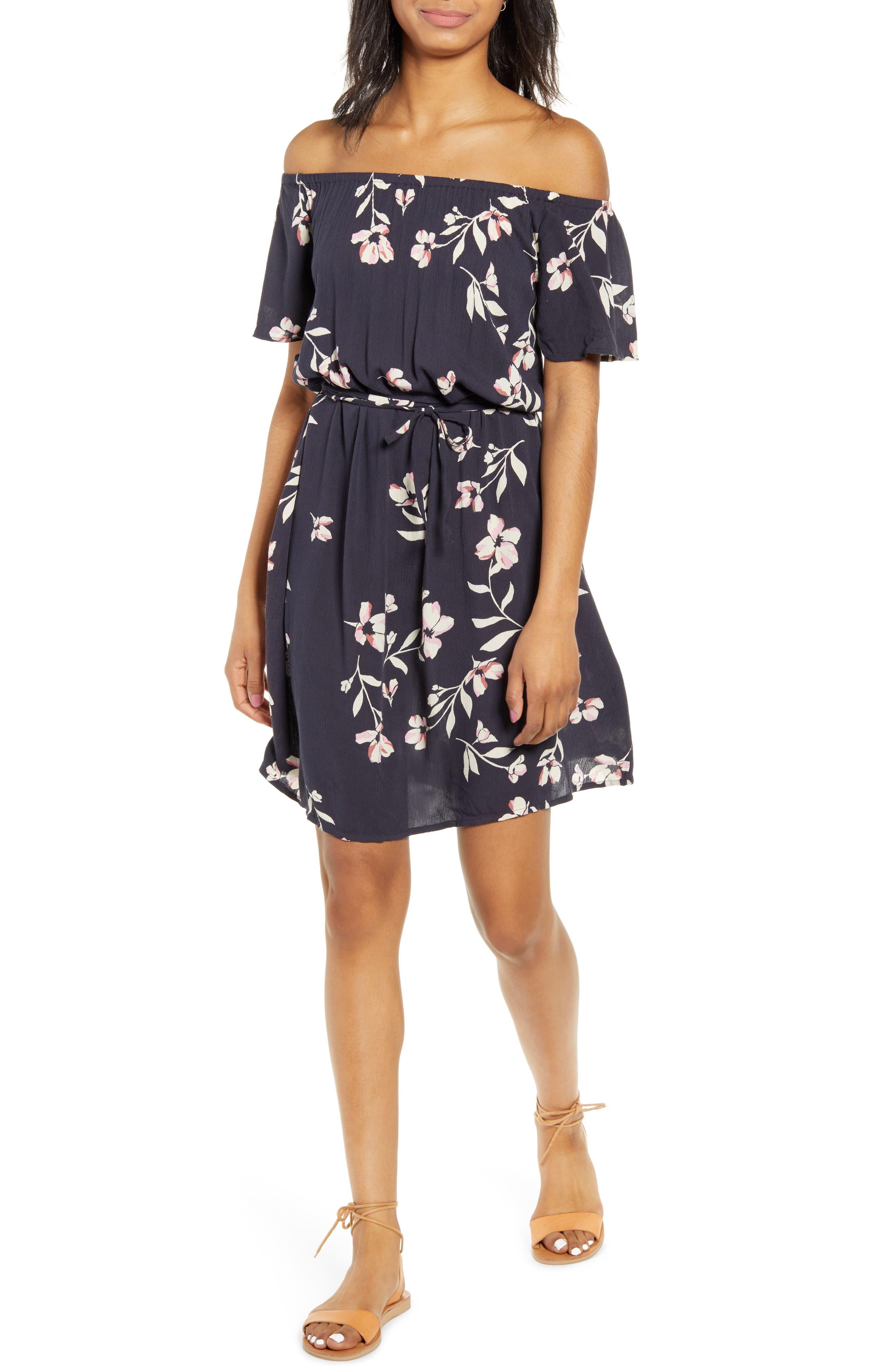 Billabong Both Ways Off The Shoulder Minidress, Blue