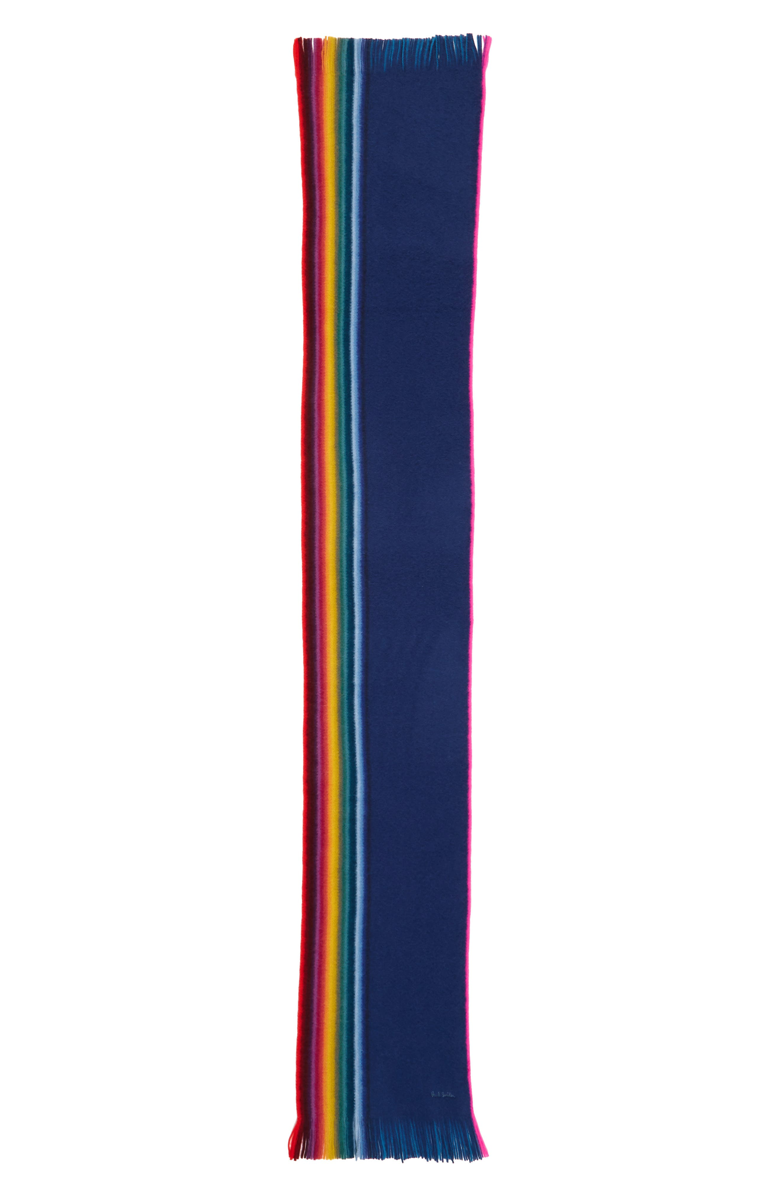 Rainbow Edge Wool Scarf,                             Alternate thumbnail 8, color,