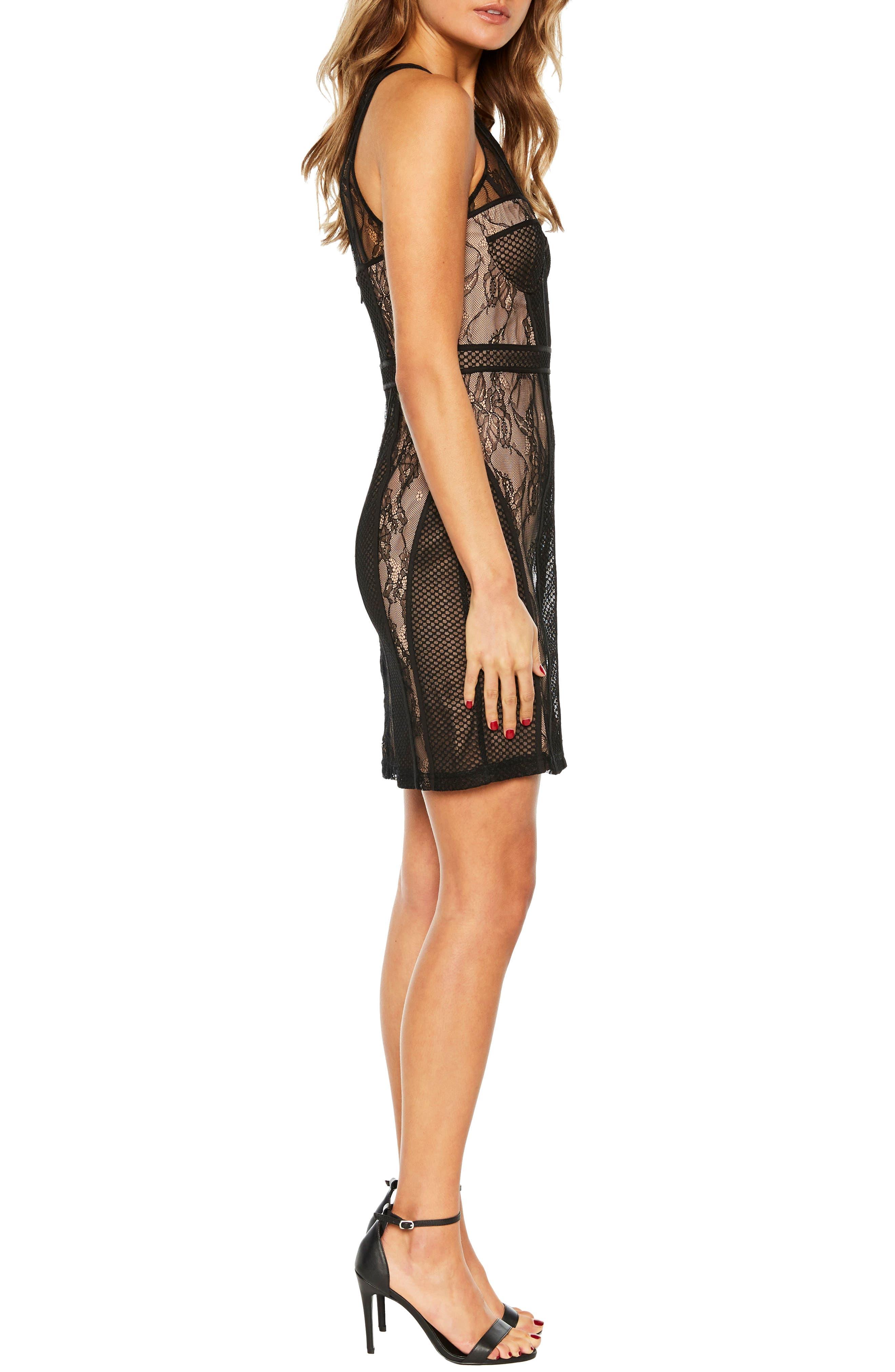 BARDOT,                             Jenny Splice Sheath Dress,                             Alternate thumbnail 3, color,                             001