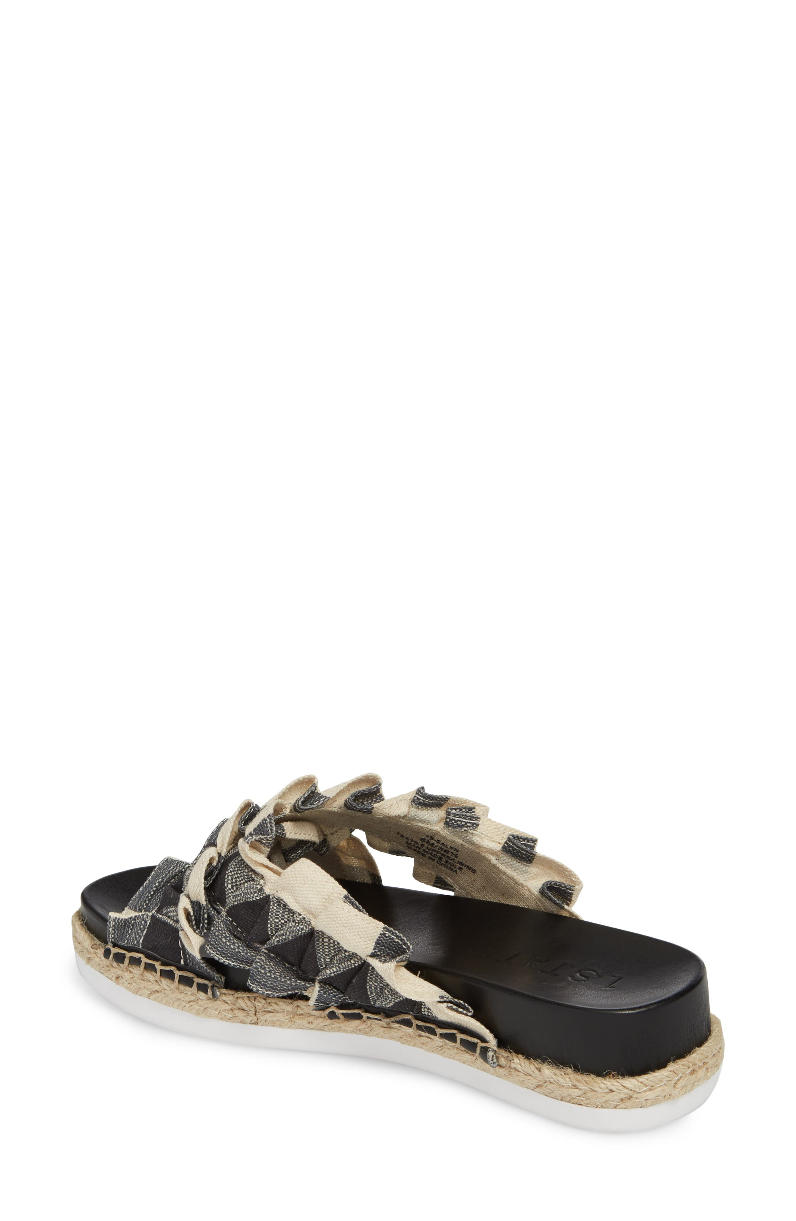 Salyn Slide Sandal,                             Alternate thumbnail 2, color,                             BLACK GINGHAM LINEN FABRIC