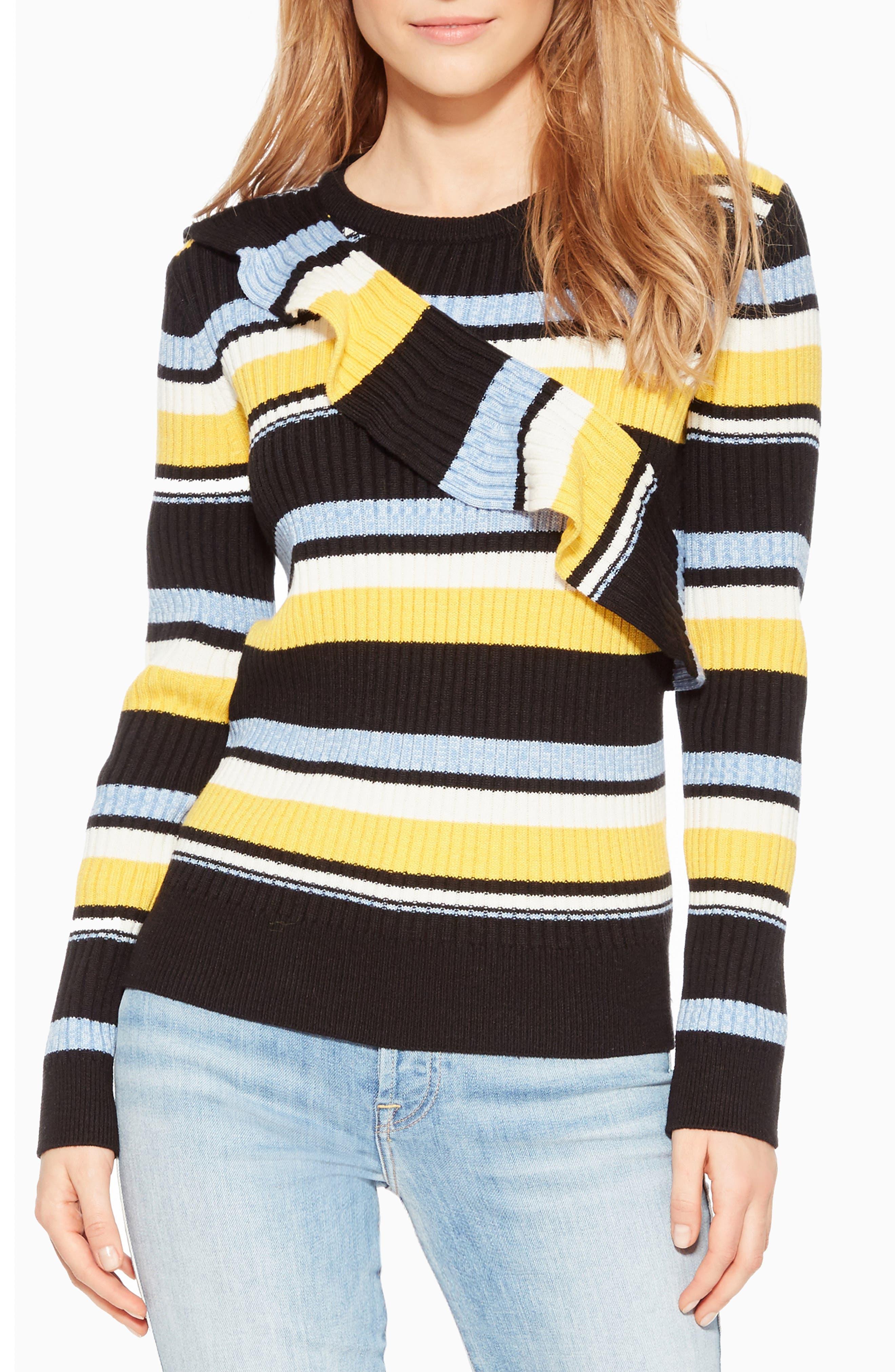 PARKER Montego Striped Ruffle Wool-Blend Sweater in Raya