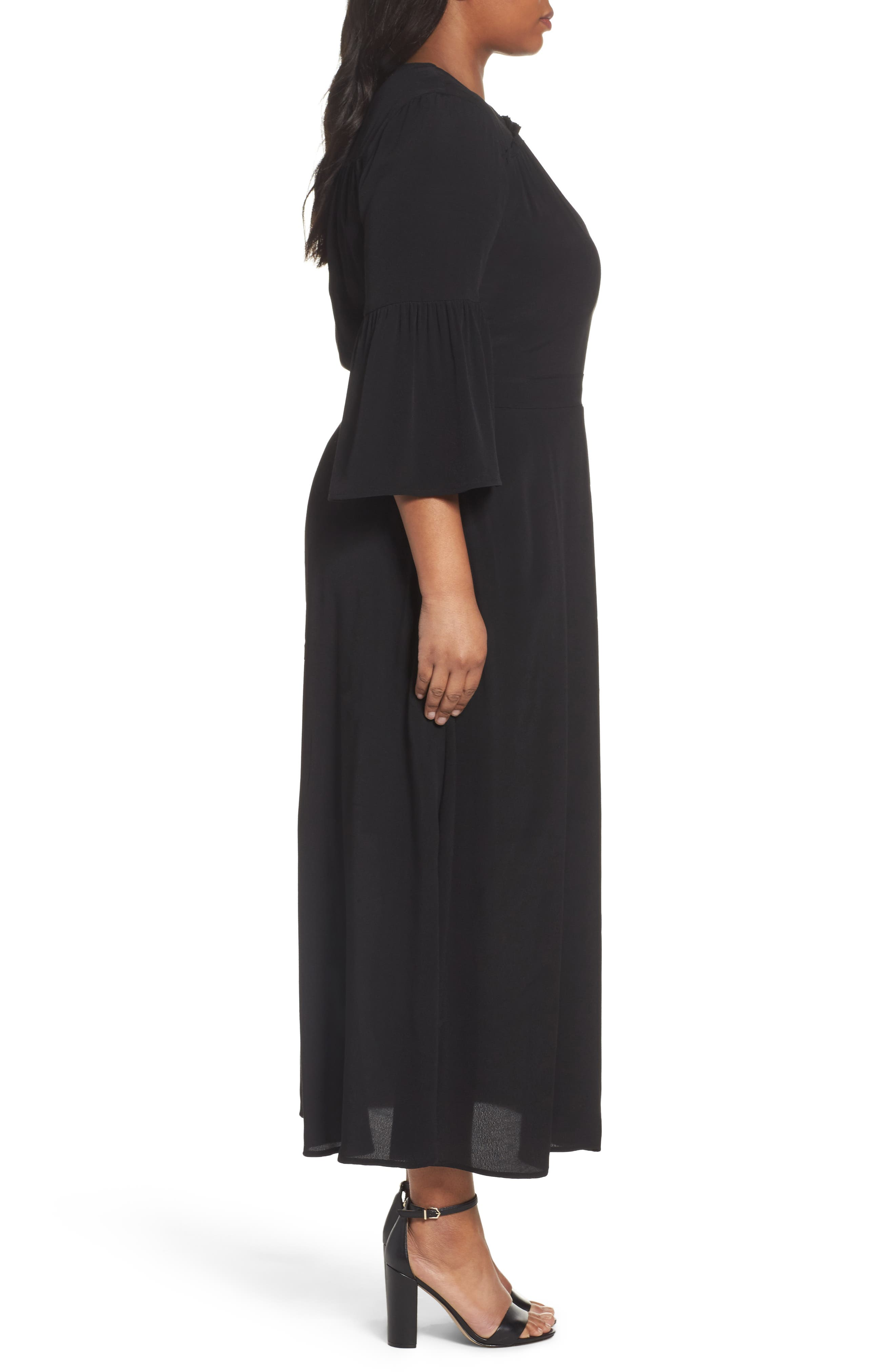 Bell Sleeve A-Line Maxi Dress,                             Alternate thumbnail 3, color,                             001